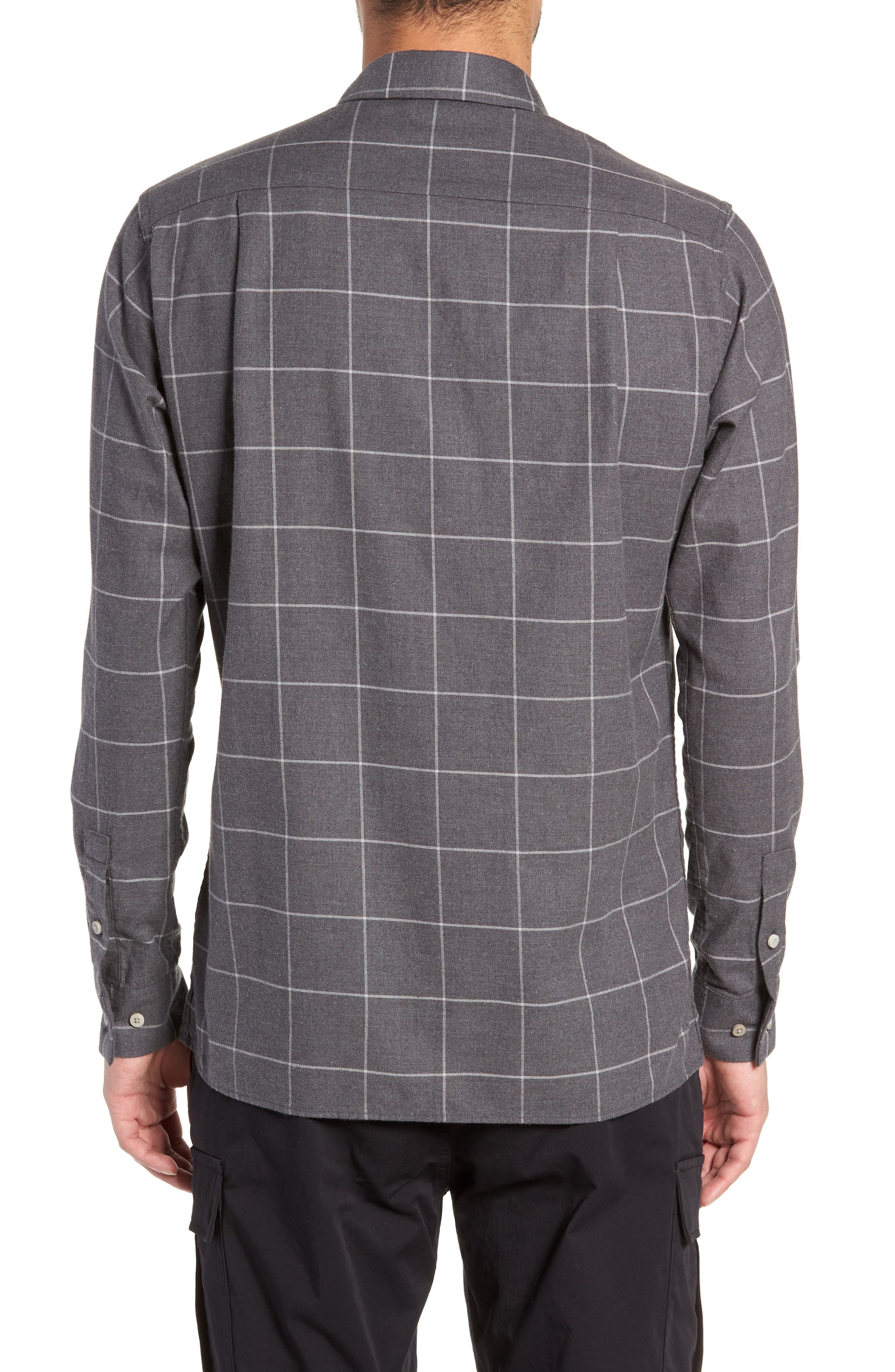 Windowpane Flannel Shirt,                             Alternate thumbnail 3, color,                             GREY