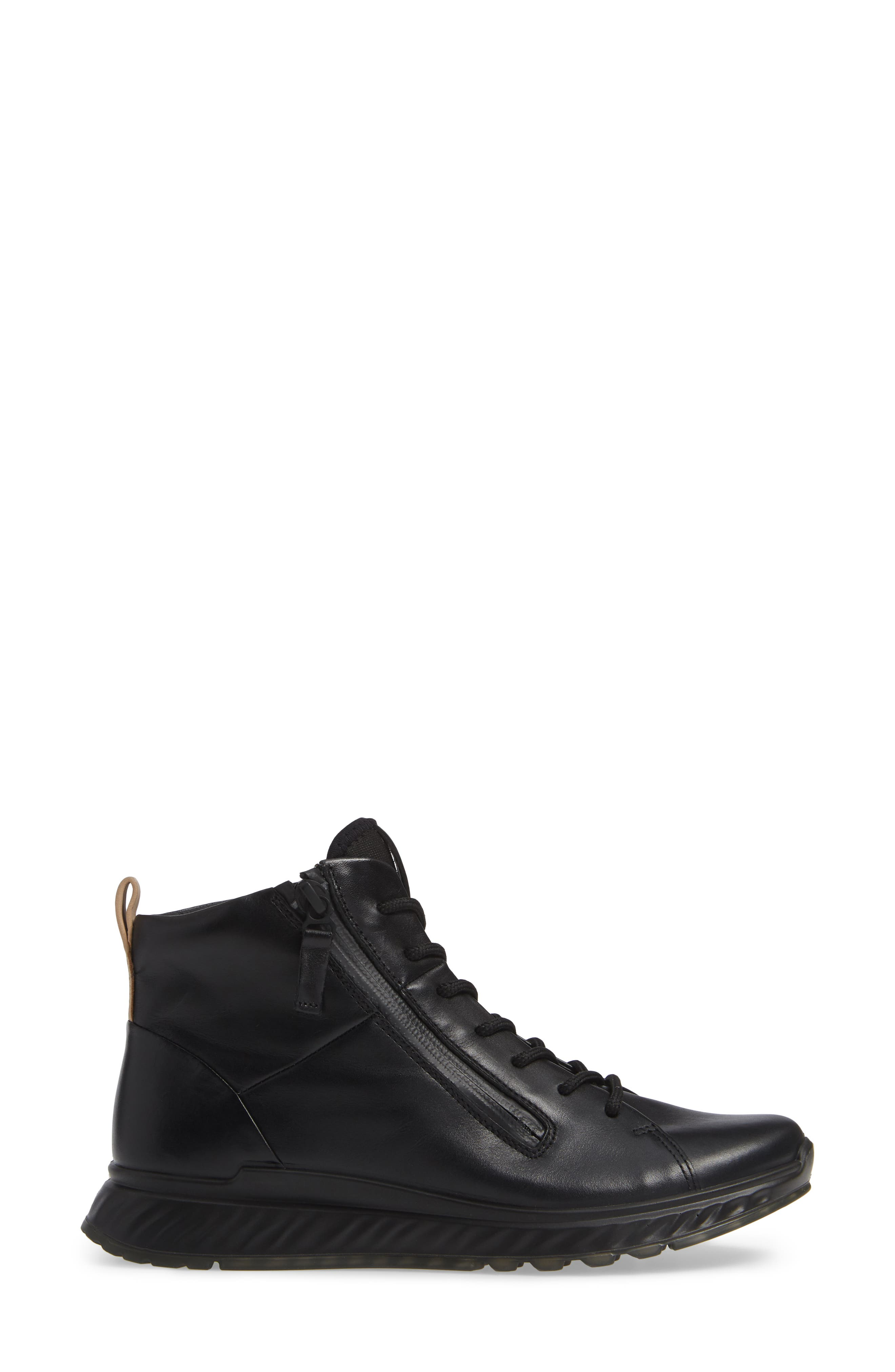 ST1 High Top Sneaker,                             Alternate thumbnail 3, color,                             BLACK LEATHER