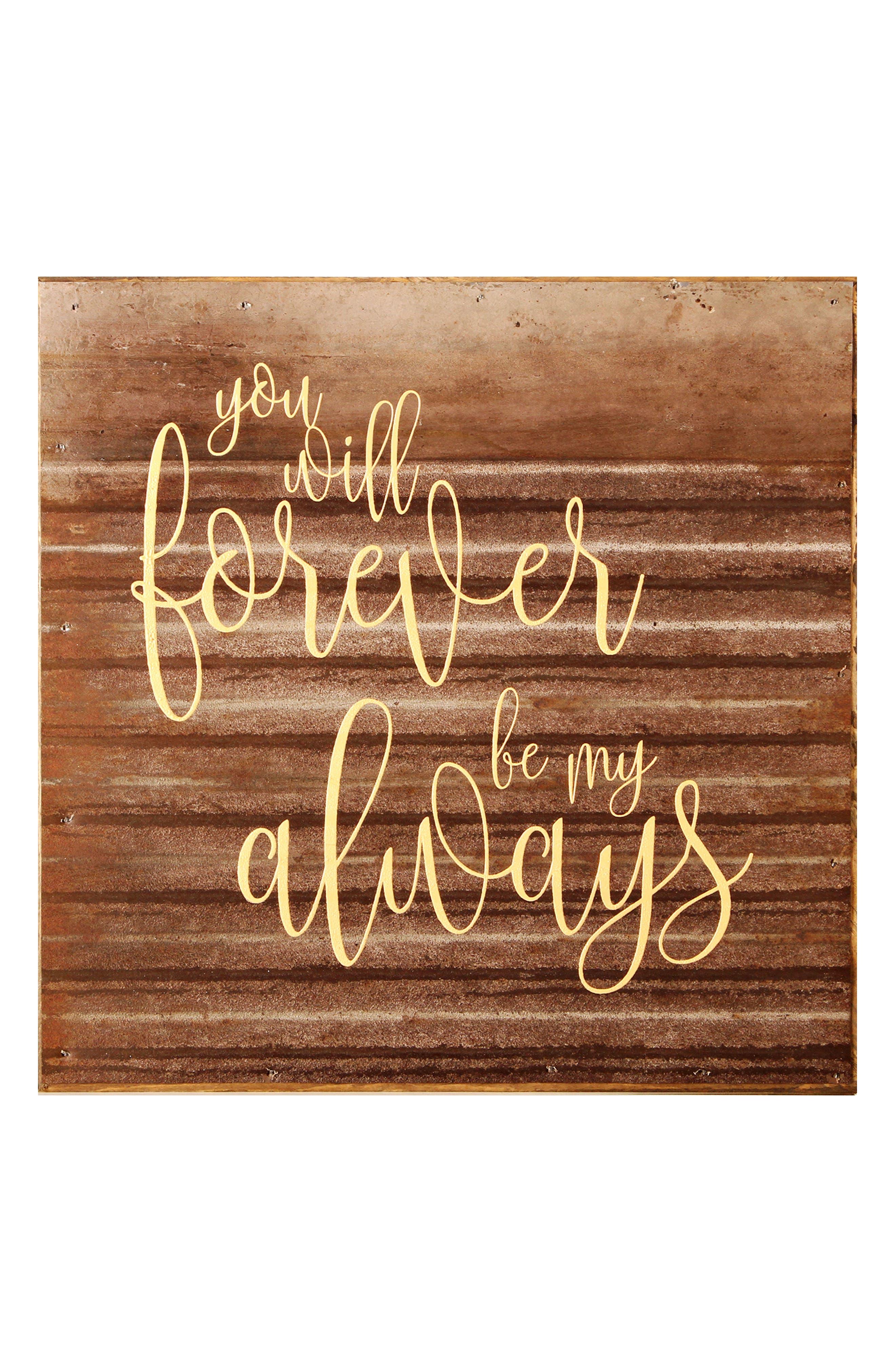 Forever & Always Repurposed Wood & Steel Wall Art,                         Main,                         color, COPPER