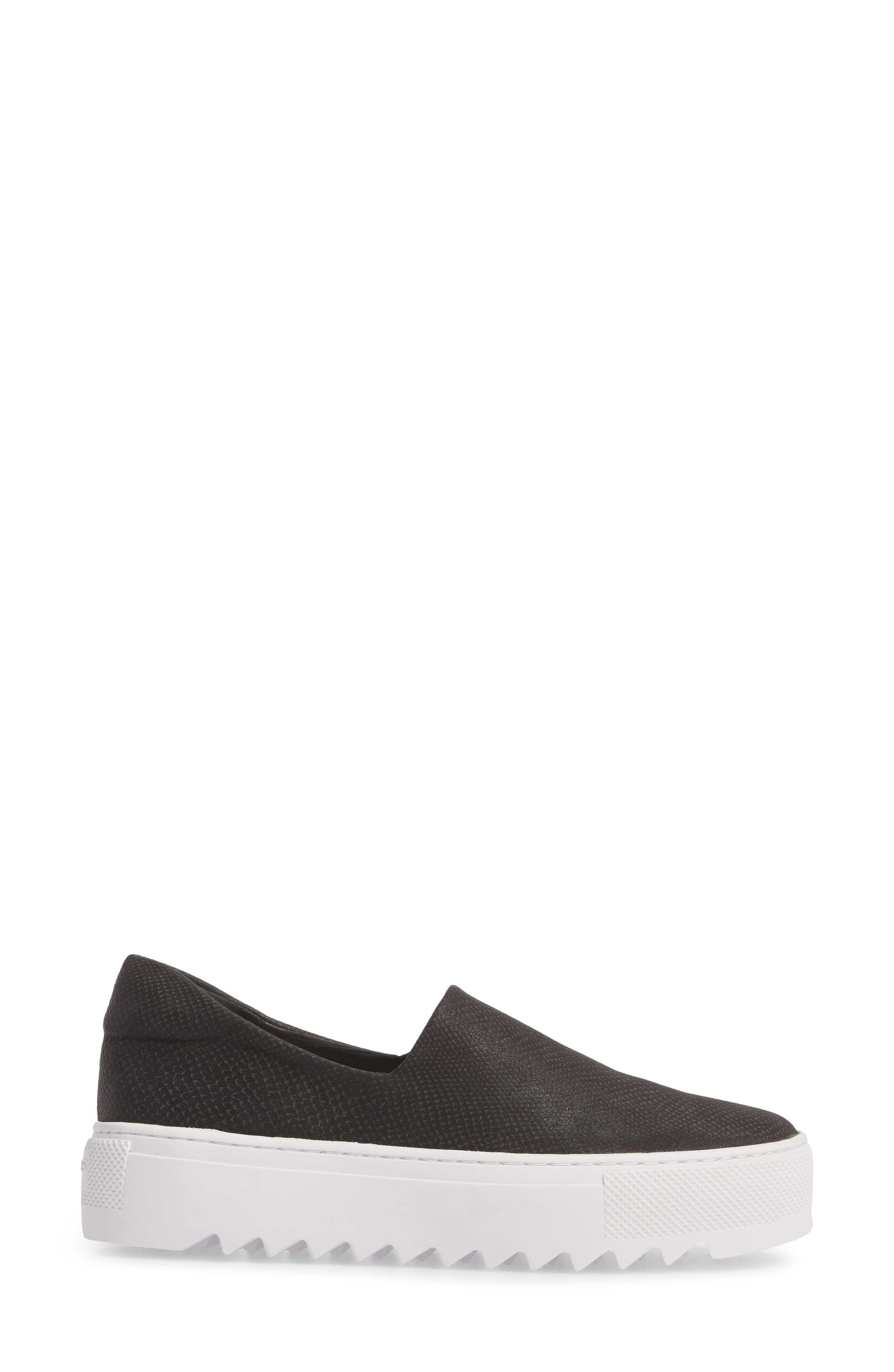 Sage Platform Slip-On Sneaker,                             Alternate thumbnail 3, color,                             BLACK MIX FABRIC