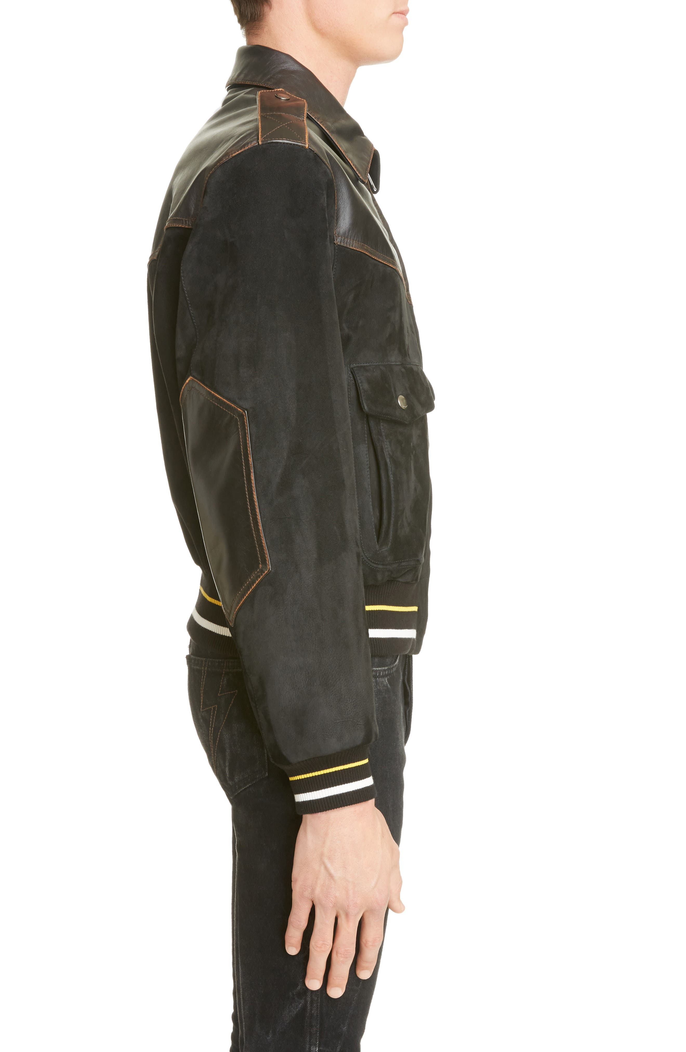 Suede & Leather Bomber Jacket,                             Alternate thumbnail 3, color,                             BLACK