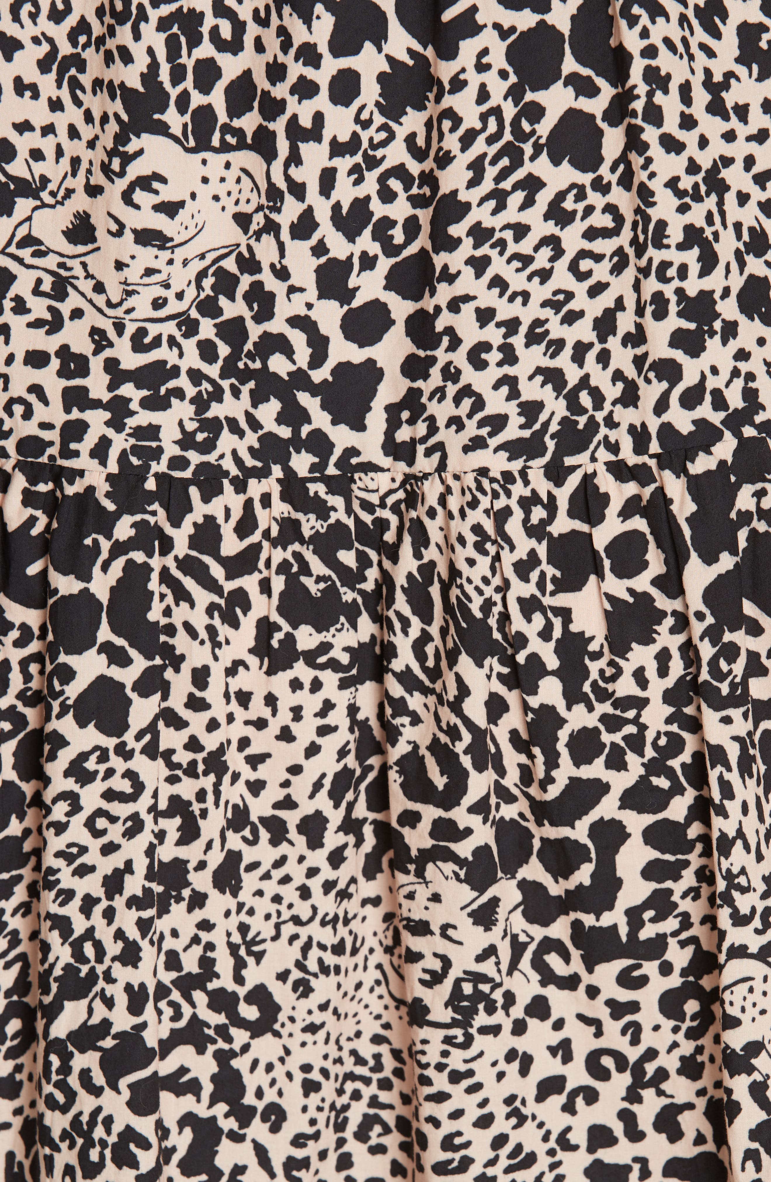 Leopard Print Smocked Dress,                             Alternate thumbnail 6, color,                             CHAMPAGNE COMBO