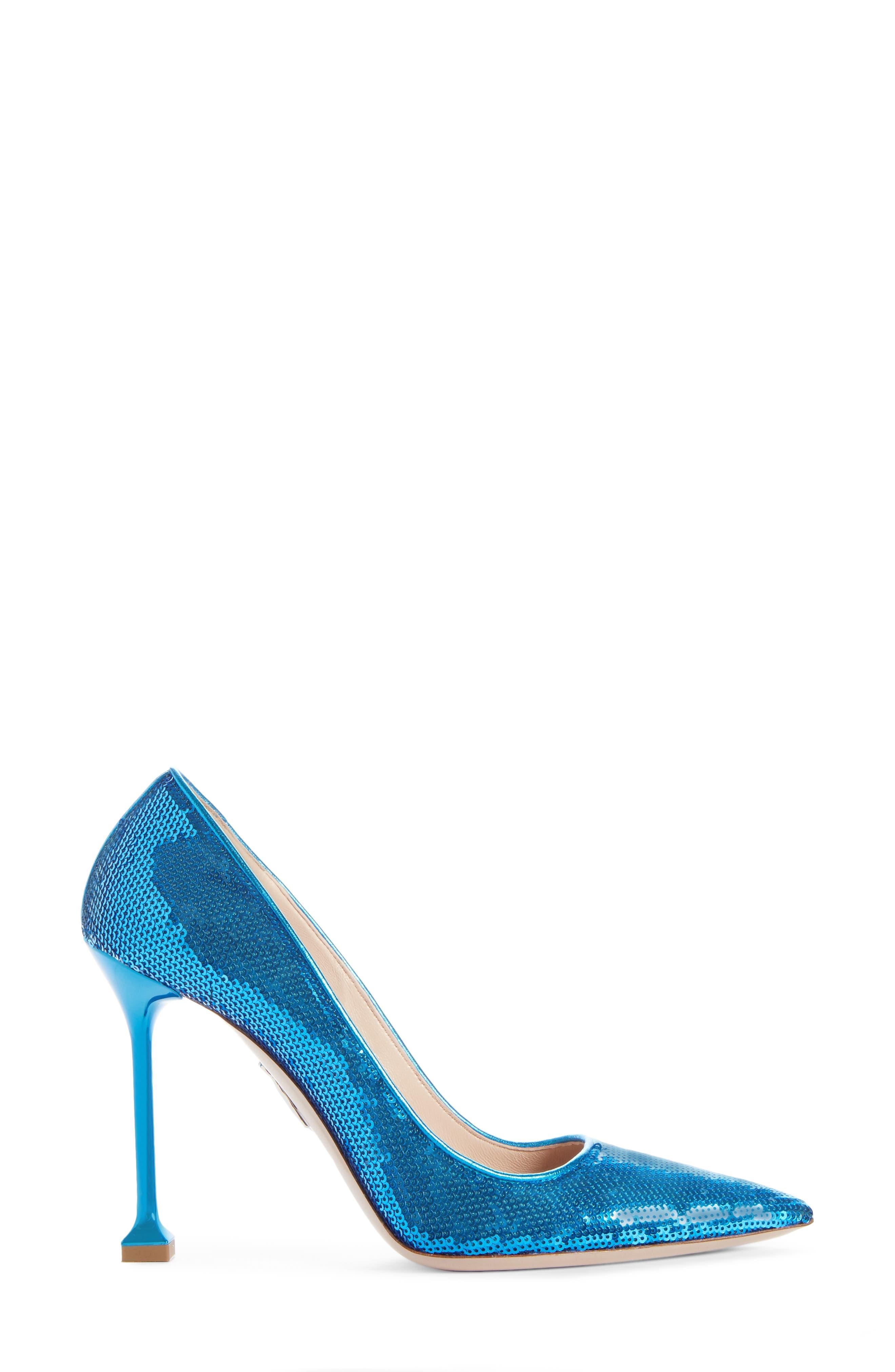 Sequin Pin Heel Pump,                             Alternate thumbnail 3, color,                             MAREA BLUE