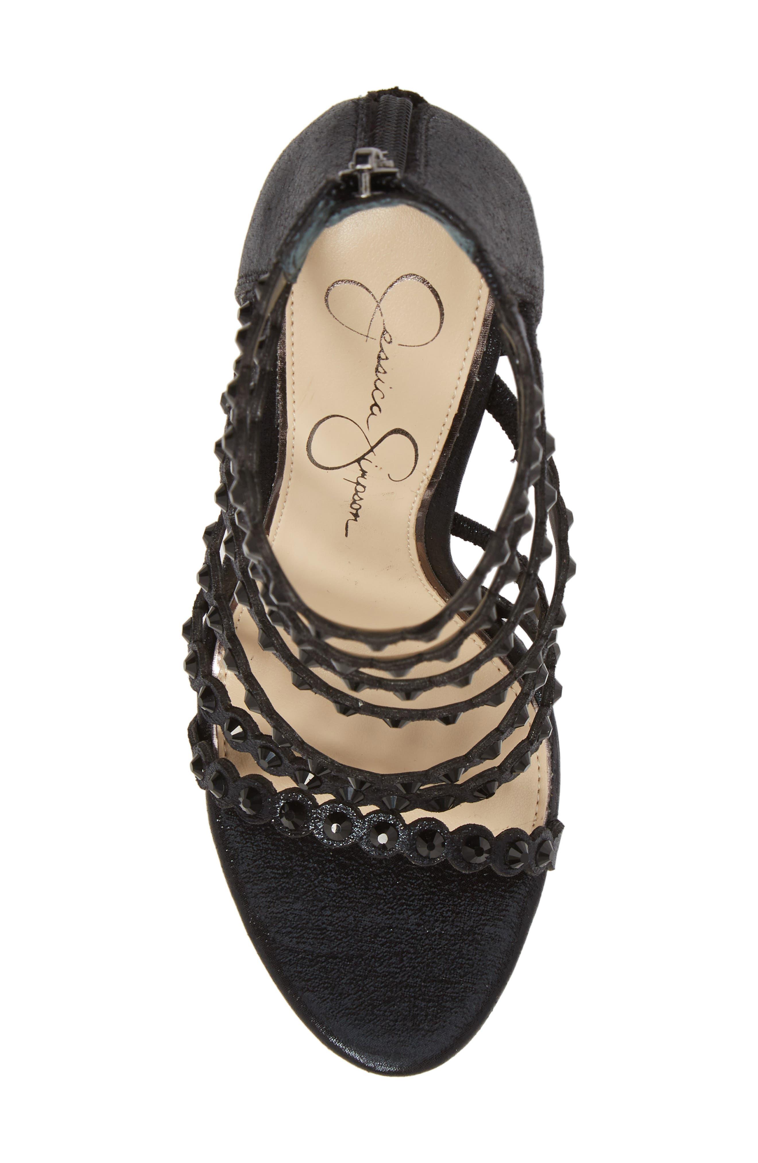 Jezalynn Embellished Sandal,                             Alternate thumbnail 5, color,                             001