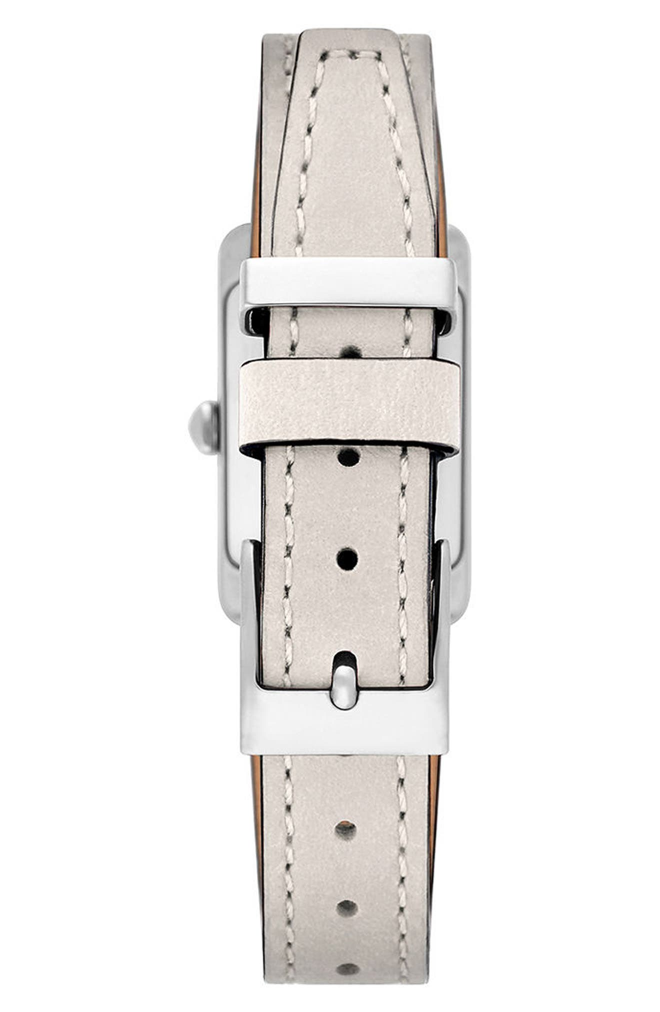 Moment Leather Strap Watch, 19mm x 30mm,                             Alternate thumbnail 2, color,                             PUTTY/ WHITE/ SILVER