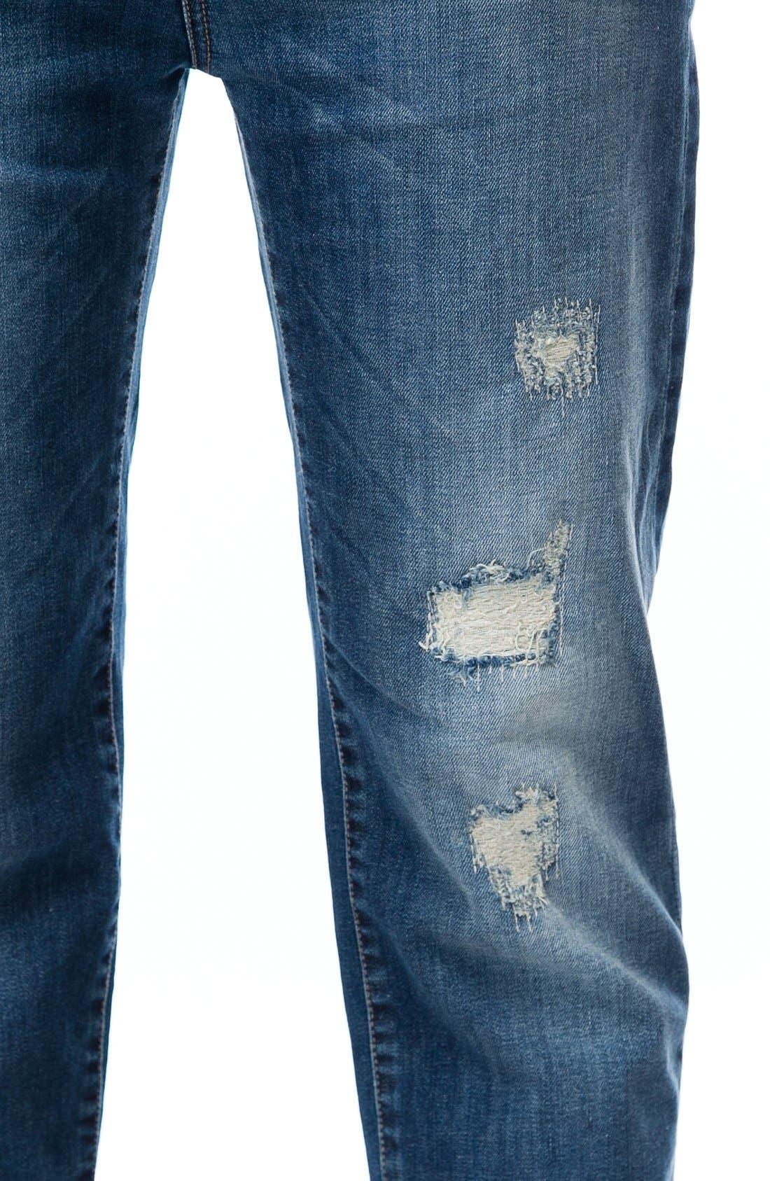 Distressed Crop Boyfriend Maternity Jeans,                             Alternate thumbnail 4, color,