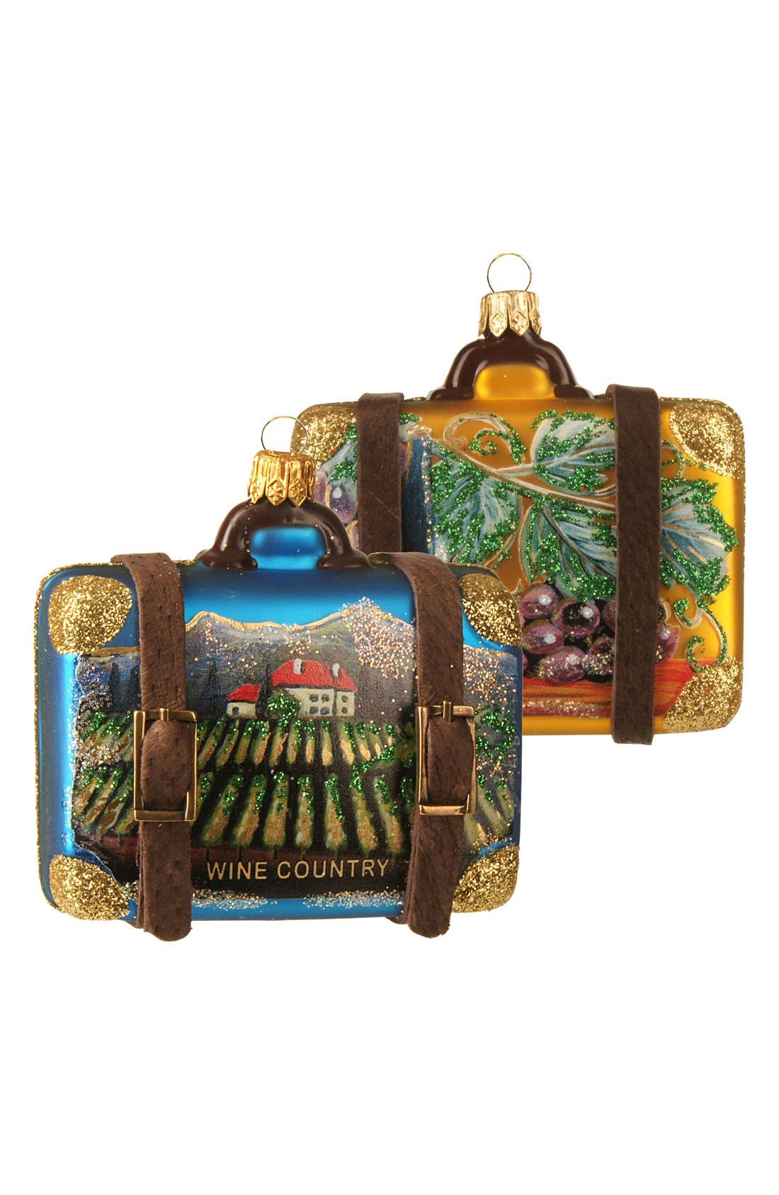 Handblown Glass Travel Suitcase Ornament,                         Main,                         color, WINE COUNTRY