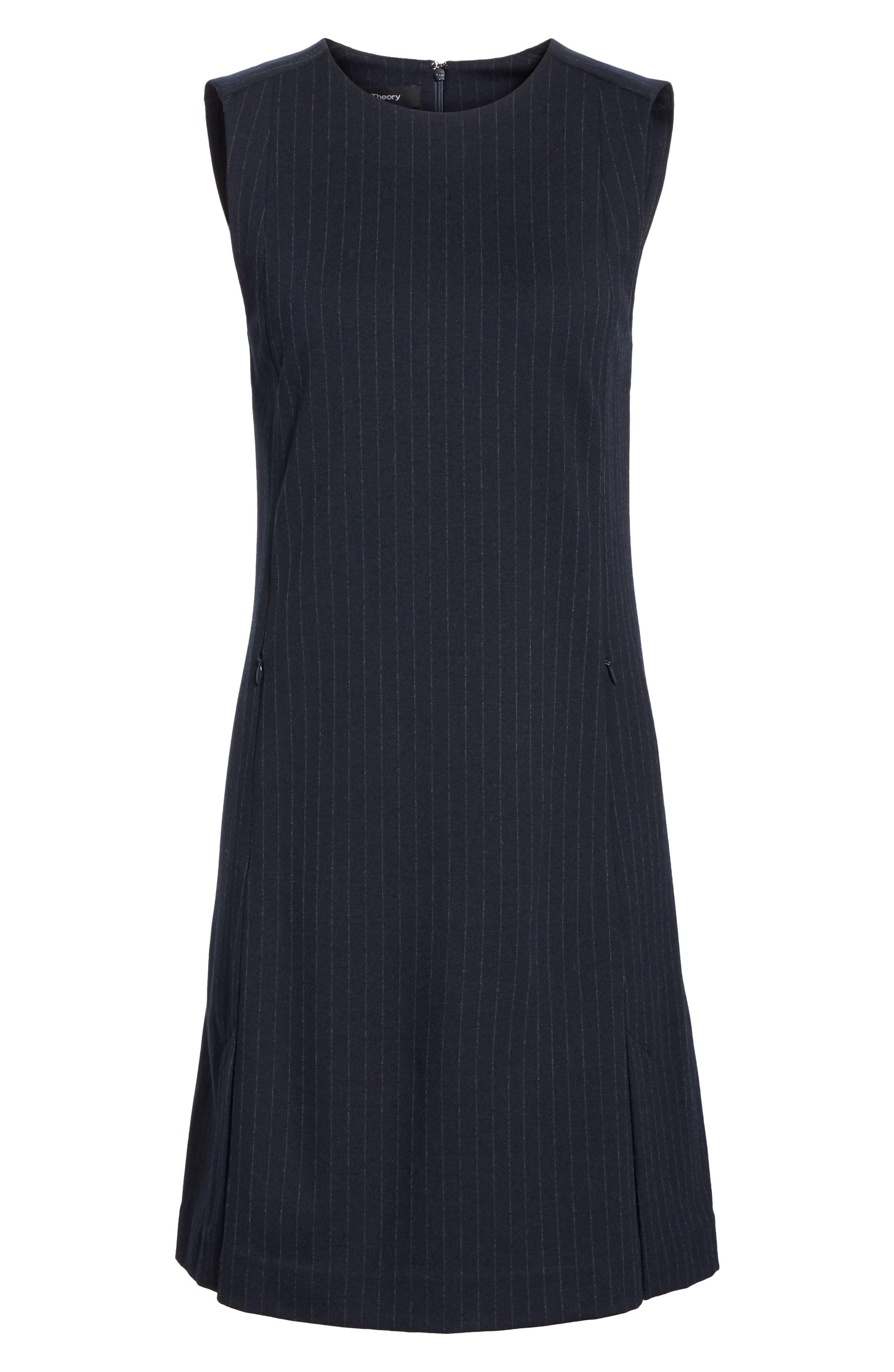 Pinstripe A-Line Dress,                             Alternate thumbnail 6, color,                             DEEP NAVY
