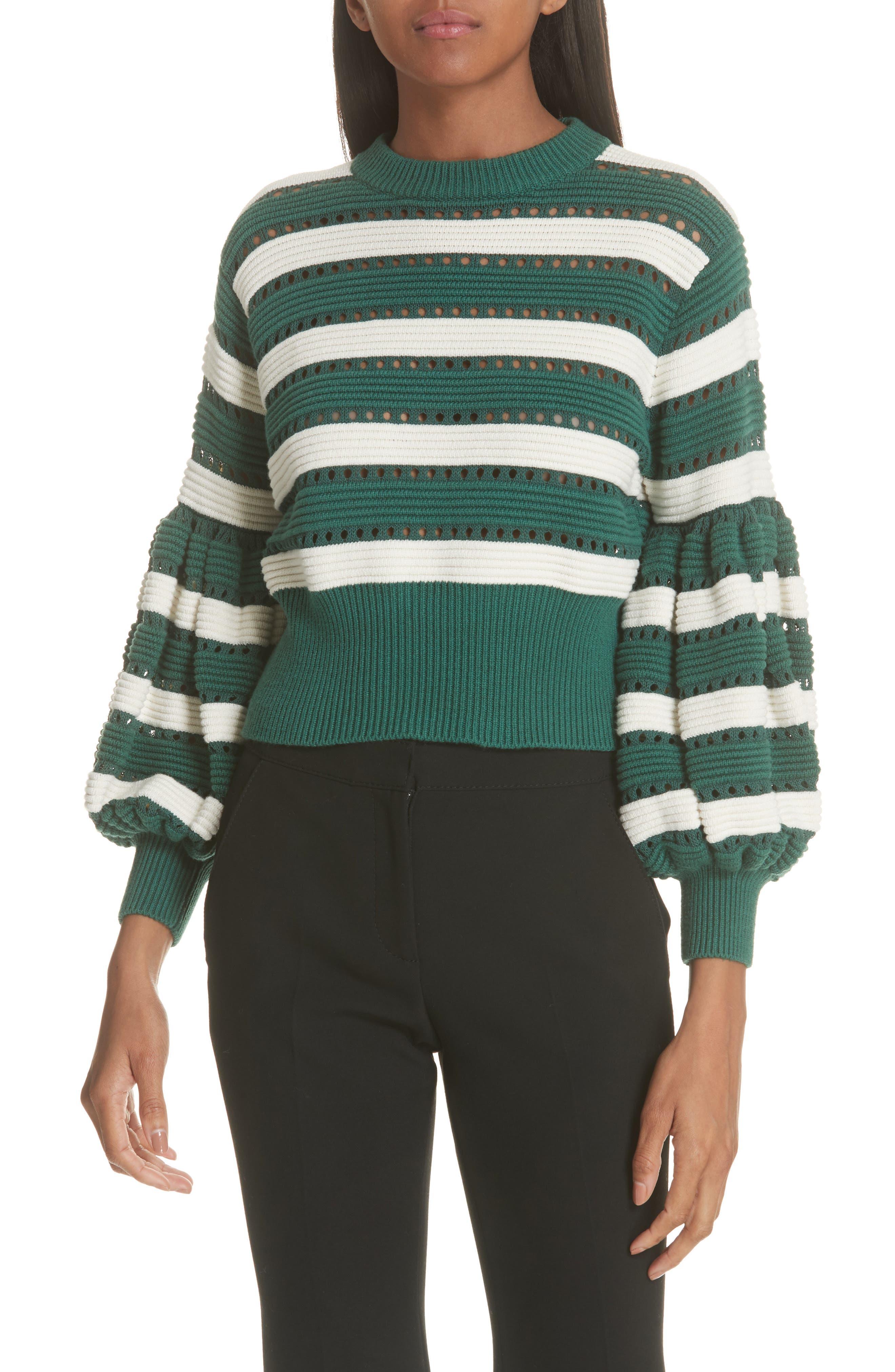 Puff Sleeve Cotton & Wool Crop Sweater,                             Main thumbnail 1, color,                             GREEN-CREAM