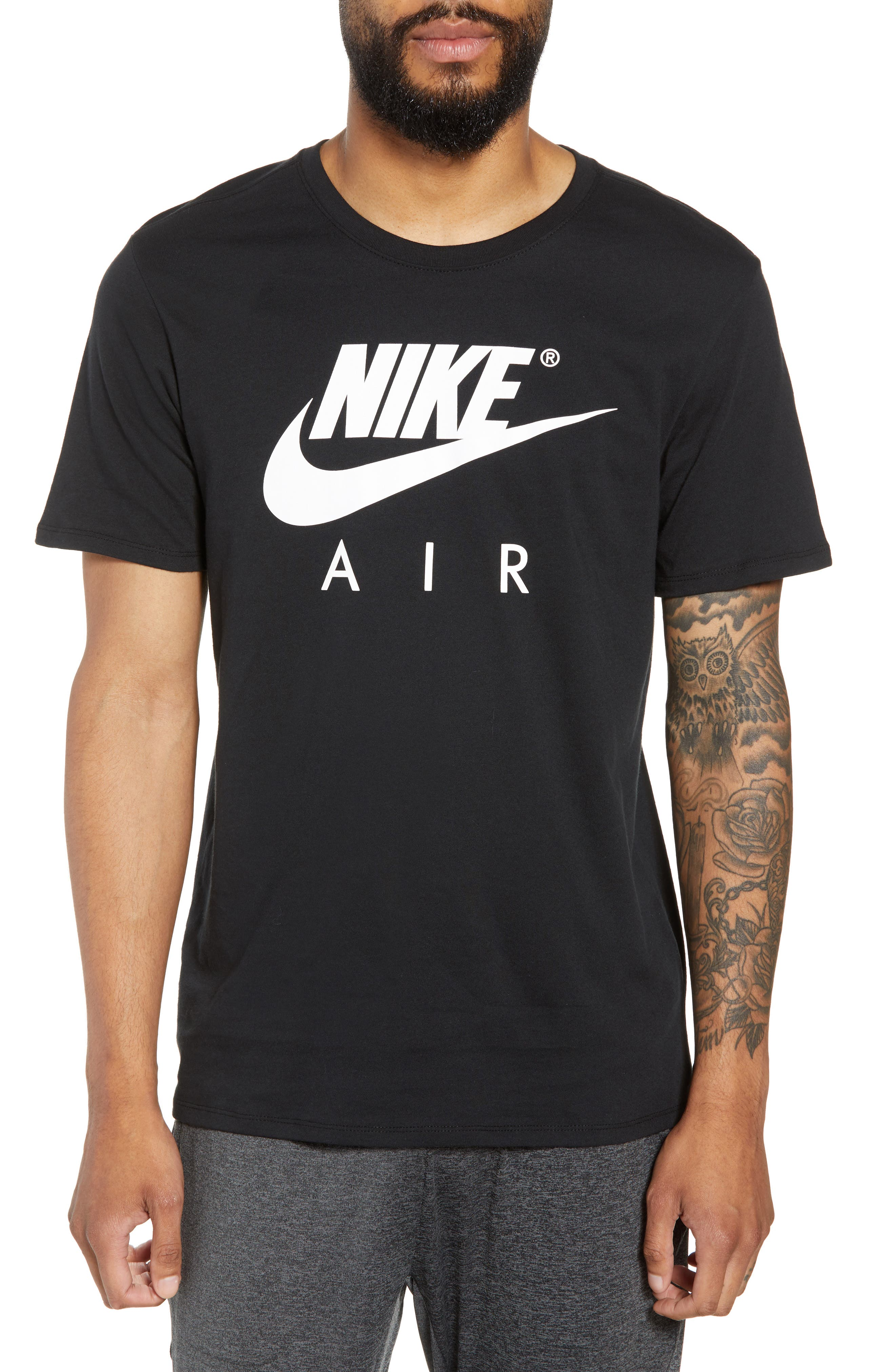 NSW Air 3 Crewneck T-Shirt,                             Main thumbnail 1, color,                             BLACK/ WHITE