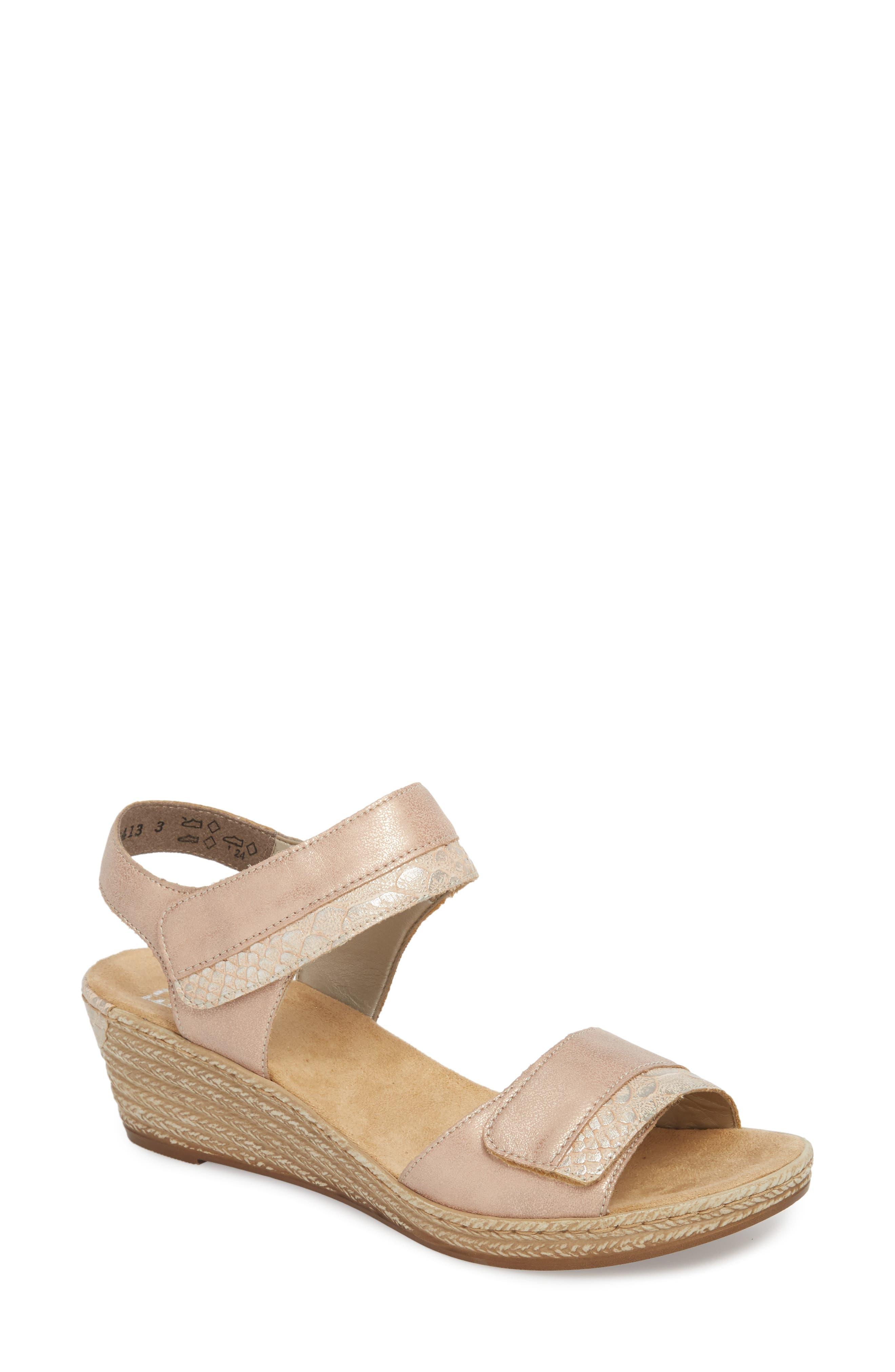 RIEKER ANTISTRESS Fanni 70 Wedge Sandal, Main, color, ROSE/ GINGER