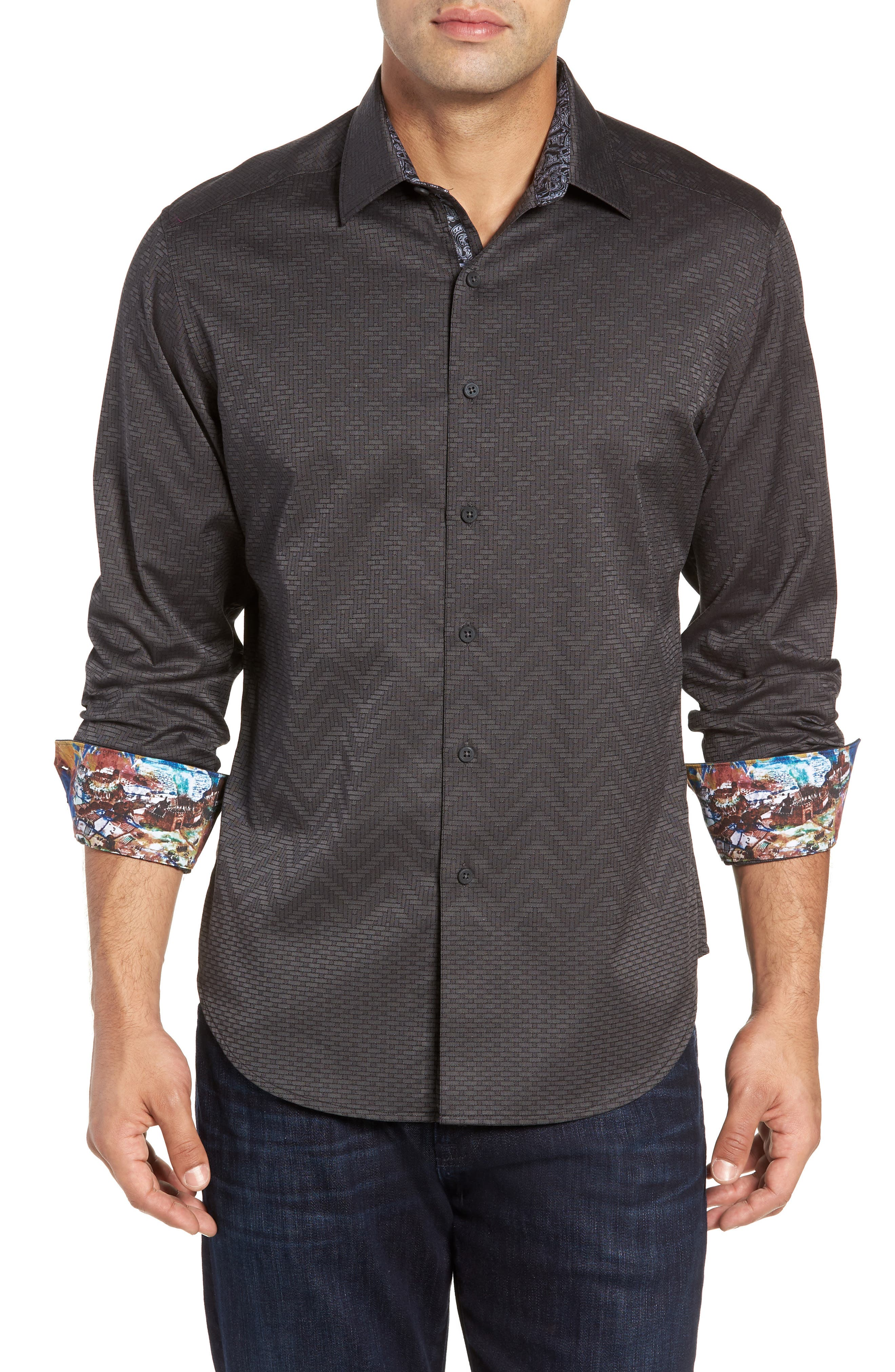 Wallace Classic Fit Sport Shirt,                             Main thumbnail 1, color,                             GREY
