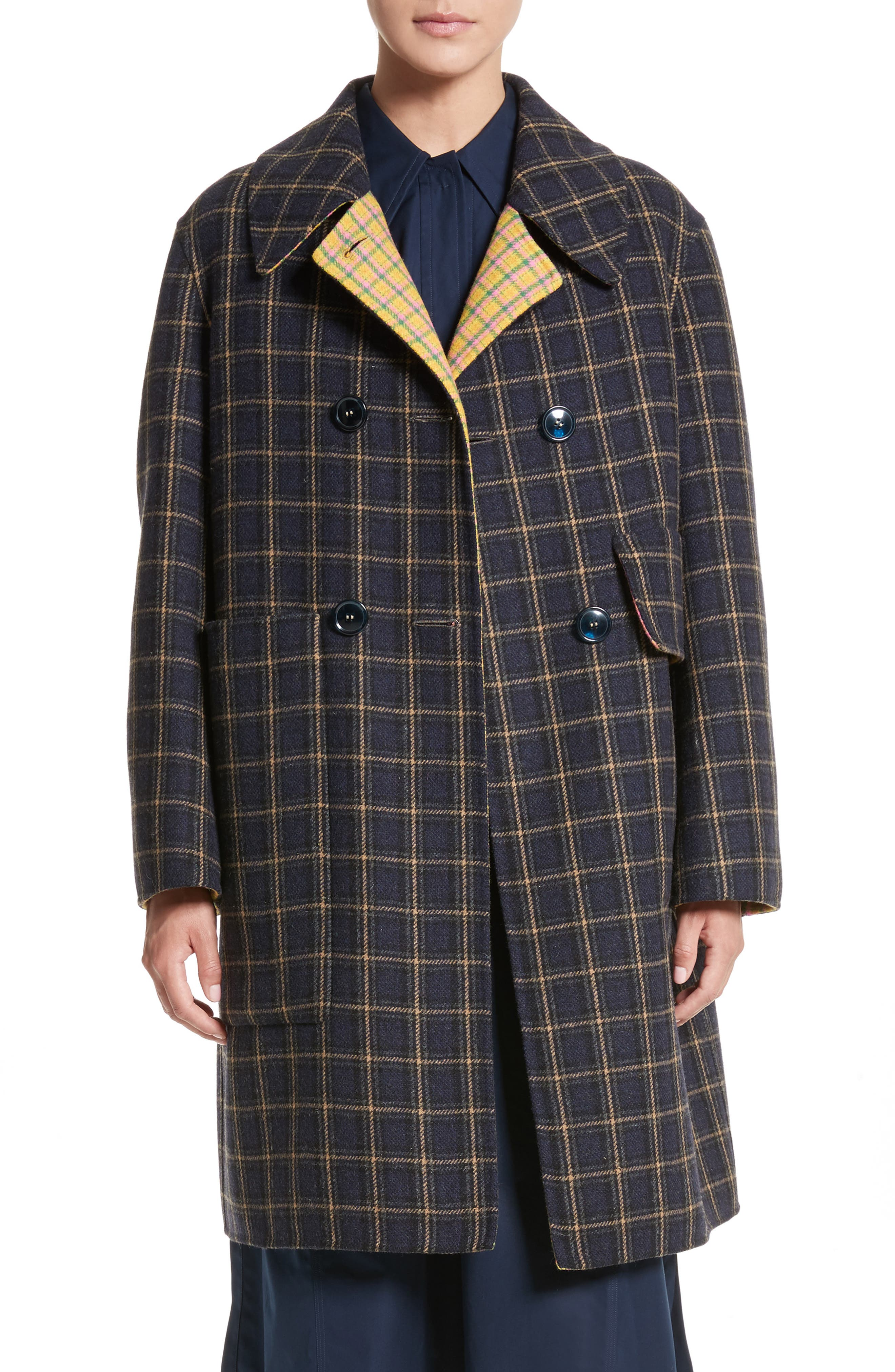 Plaid Wool Blend Car Coat,                             Main thumbnail 1, color,                             960
