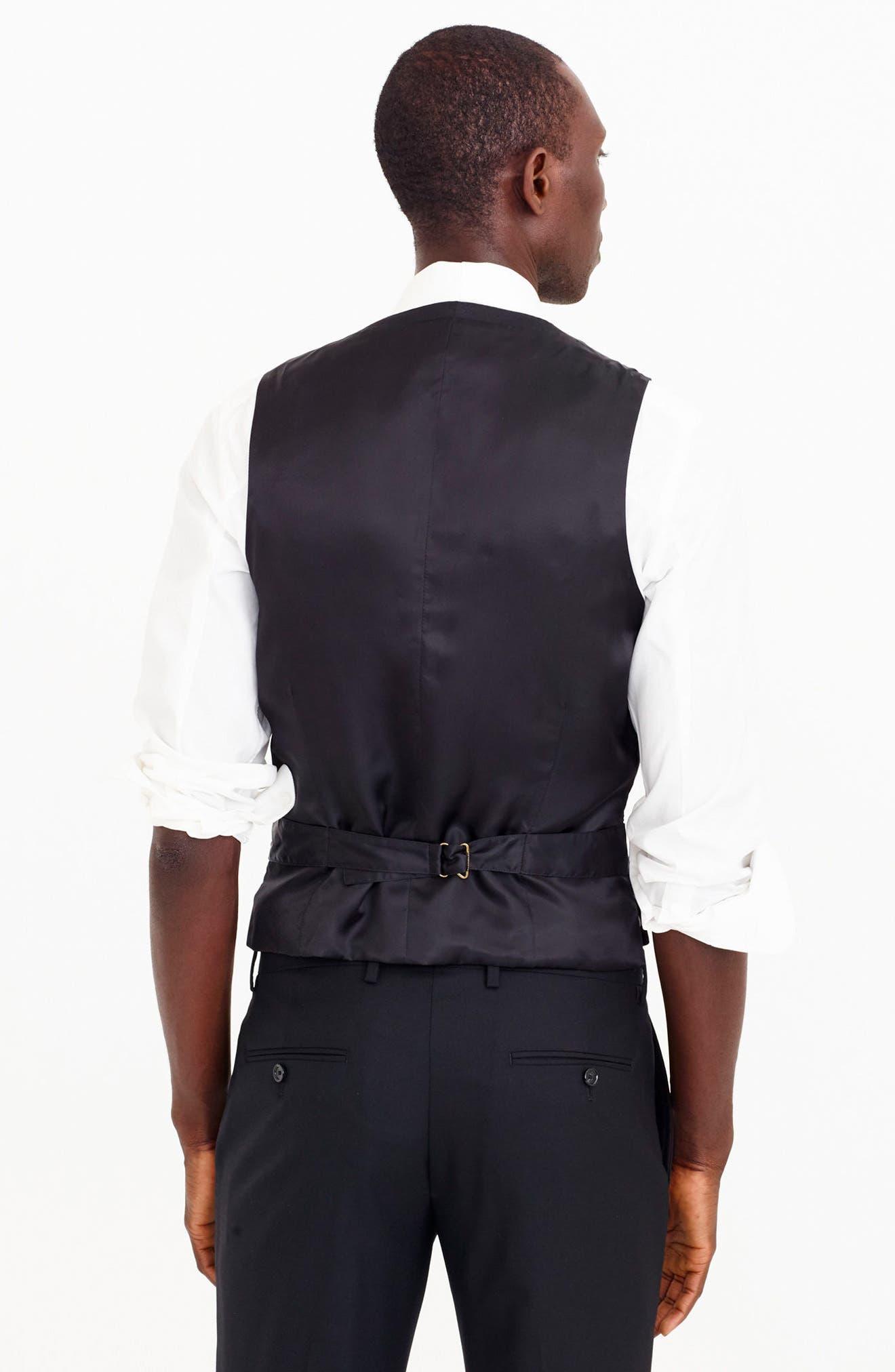 Ludlow Trim Fit Solid Wool Vest,                             Alternate thumbnail 10, color,                             001