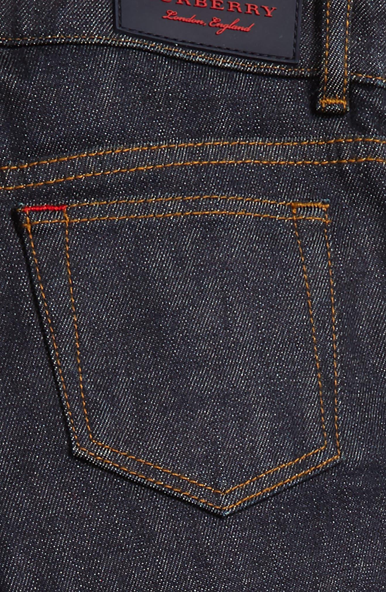 Check Cuff Straight Leg Jeans,                             Alternate thumbnail 5, color,