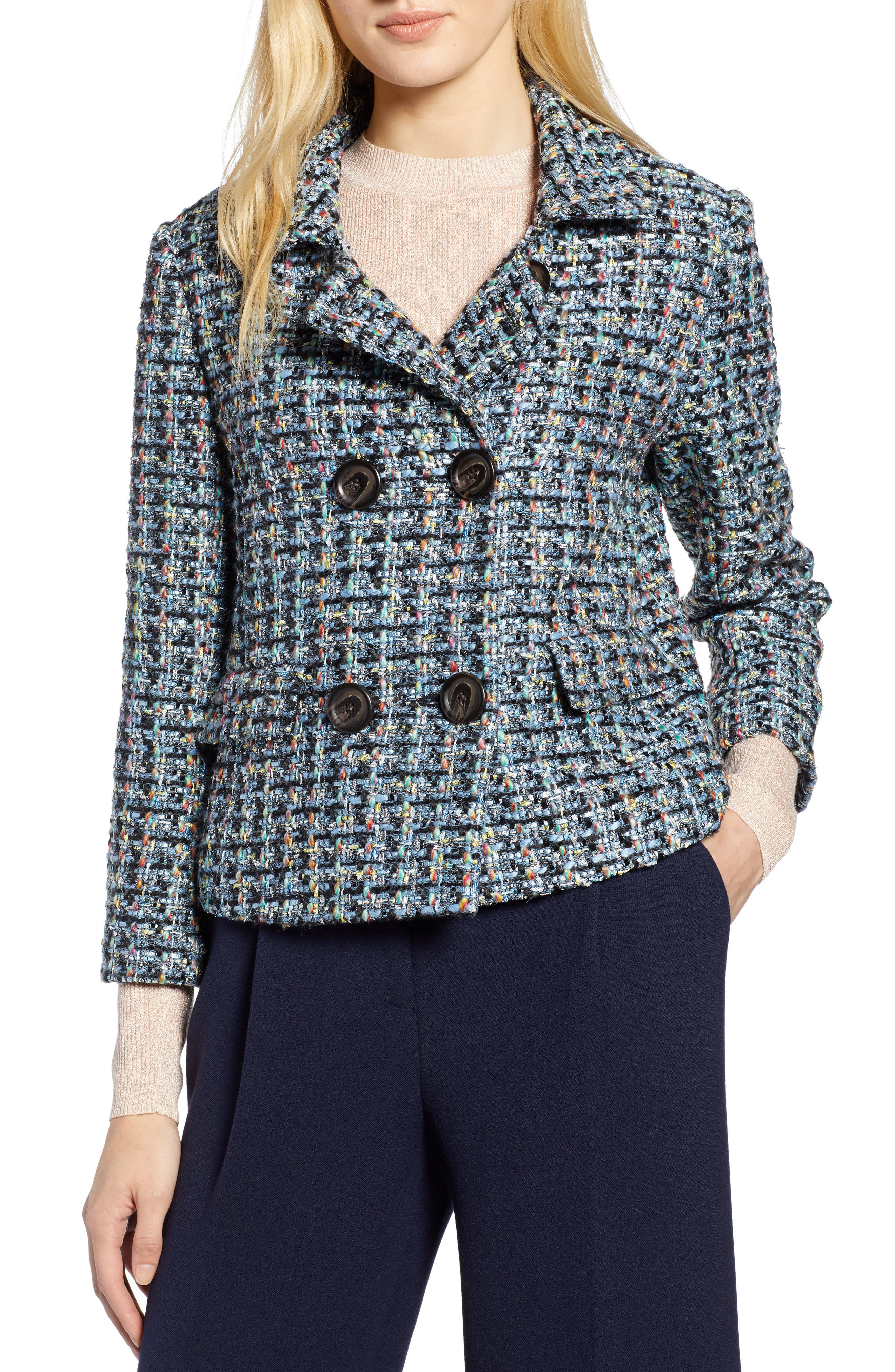 x Atlantic-Pacific Tweed Jacket with Removable Faux Fur Trim,                             Alternate thumbnail 6, color,                             BLACK MULTI TWEED