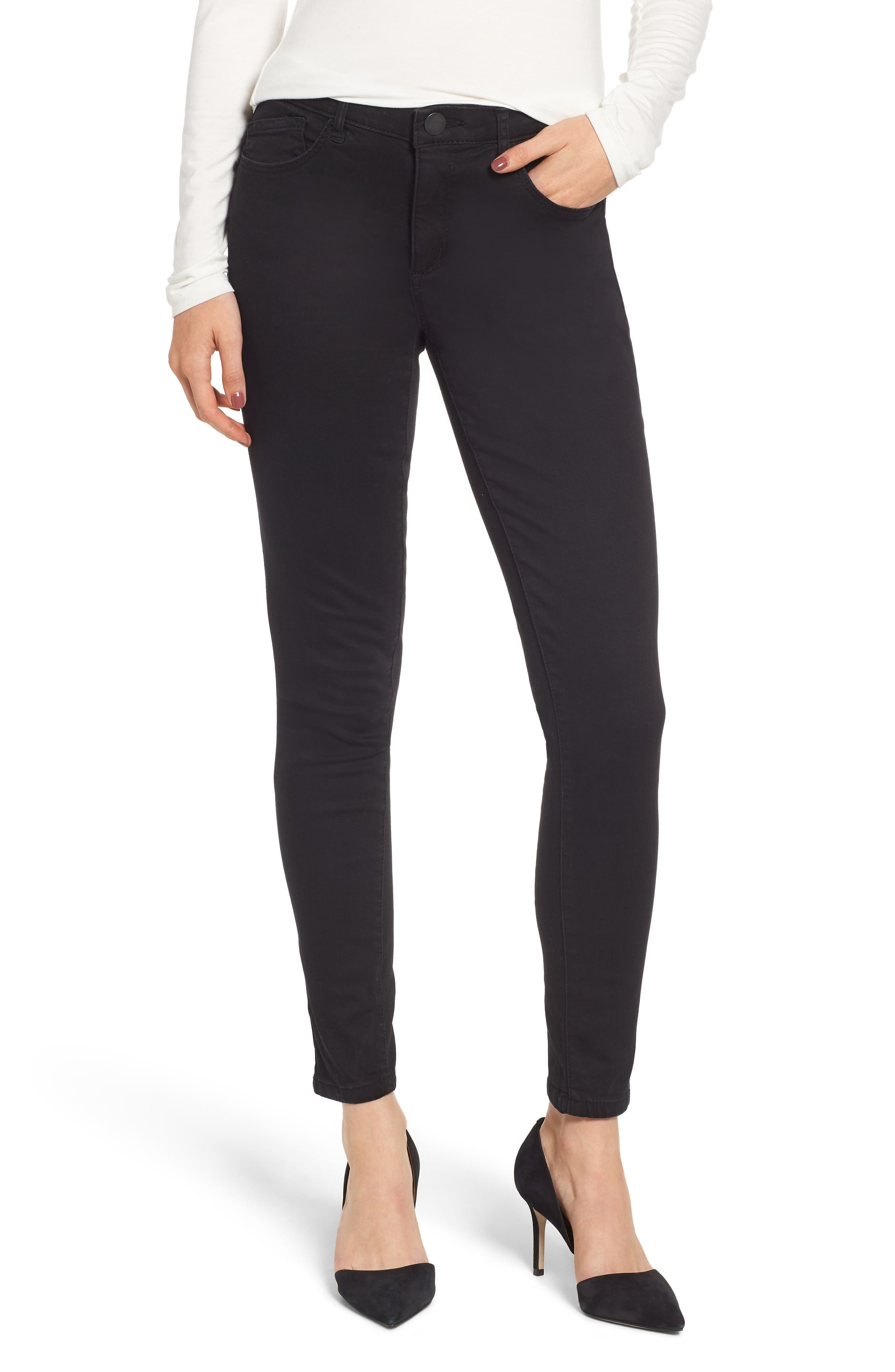 WIT & WISDOM High Rise Ab-solution Skinny Jeans, Main, color, BLACK