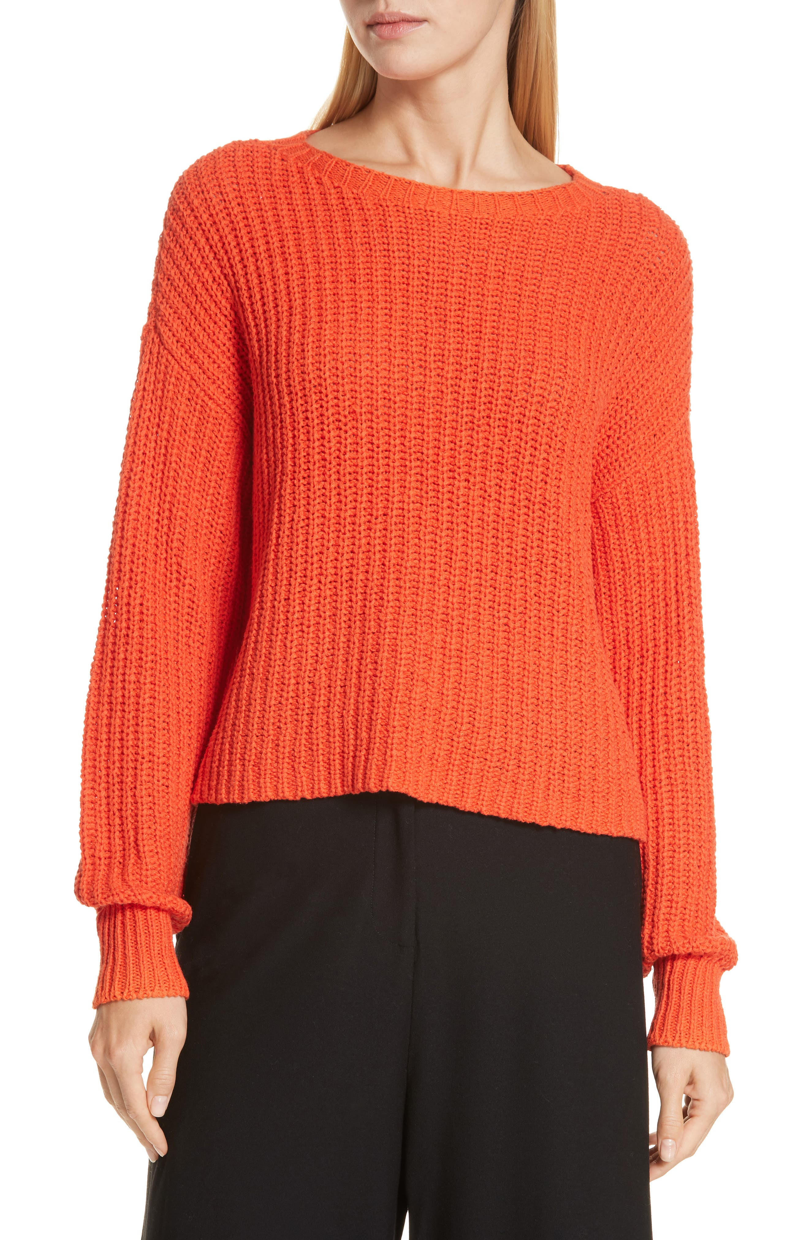Crewneck Crop Shaker Sweater, Main, color, HOT RED