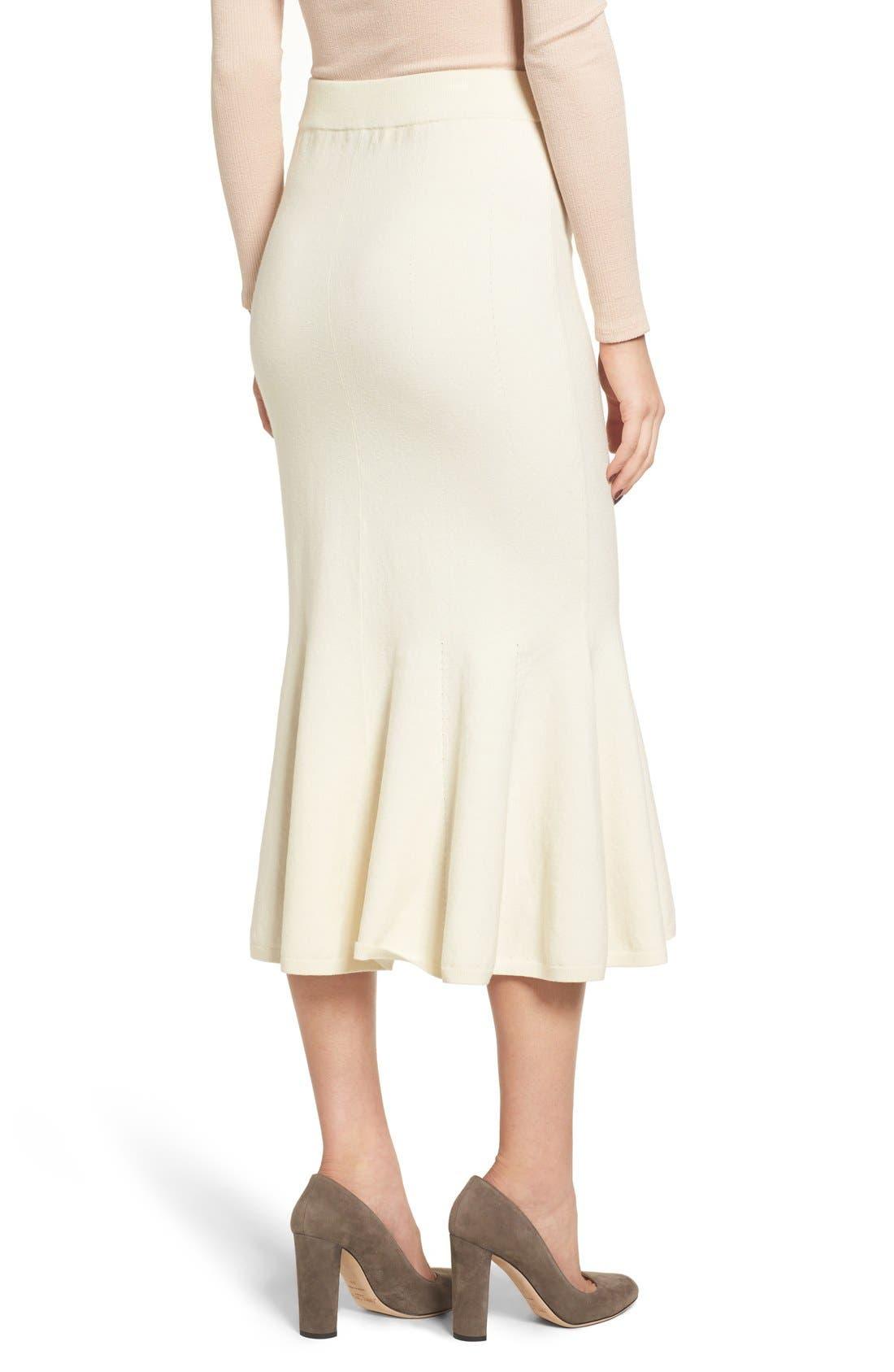 Fluted Wool Blend Skirt,                             Alternate thumbnail 5, color,                             900