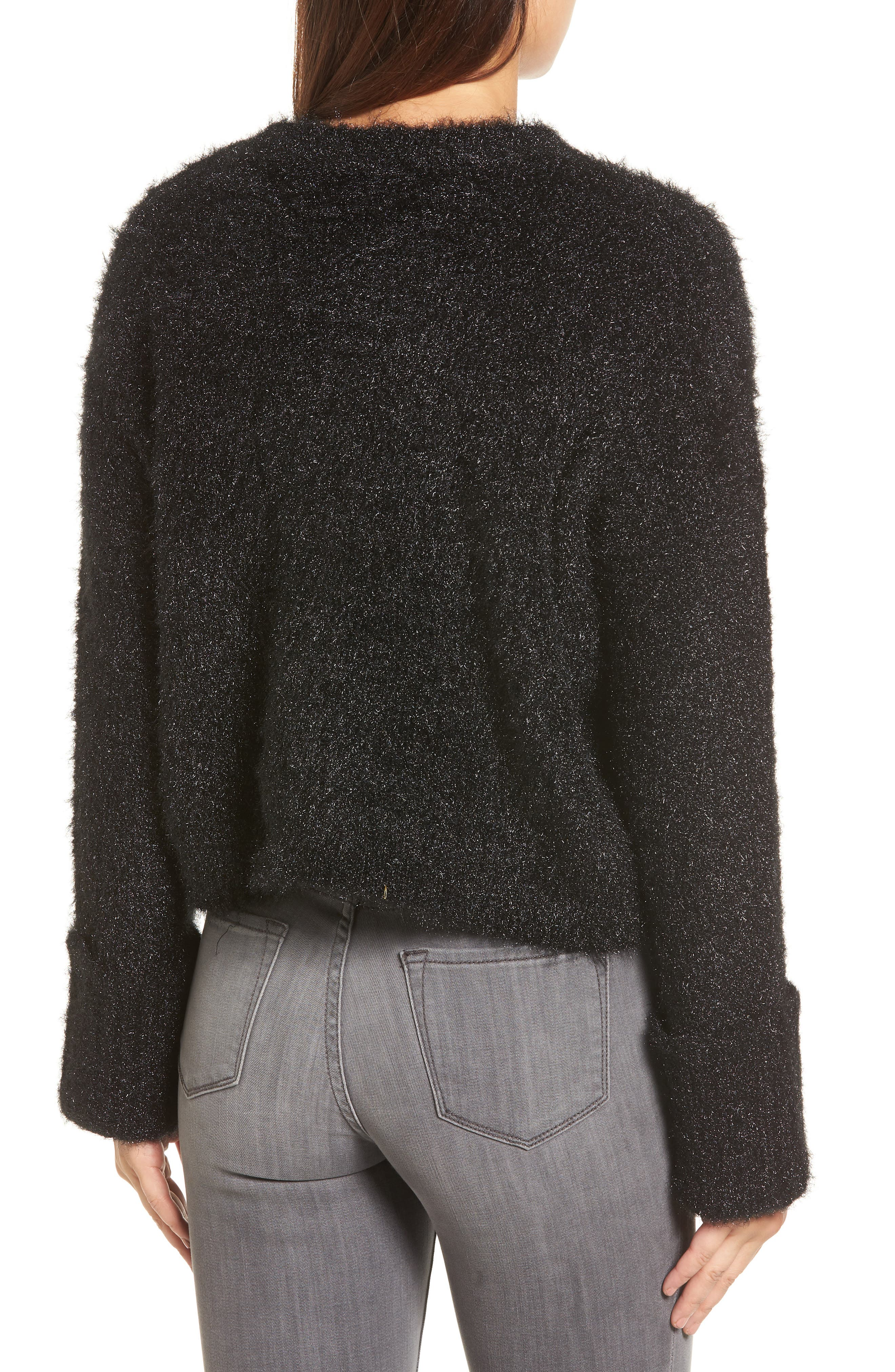 Large Cuff Crop Sweater,                             Alternate thumbnail 2, color,                             001