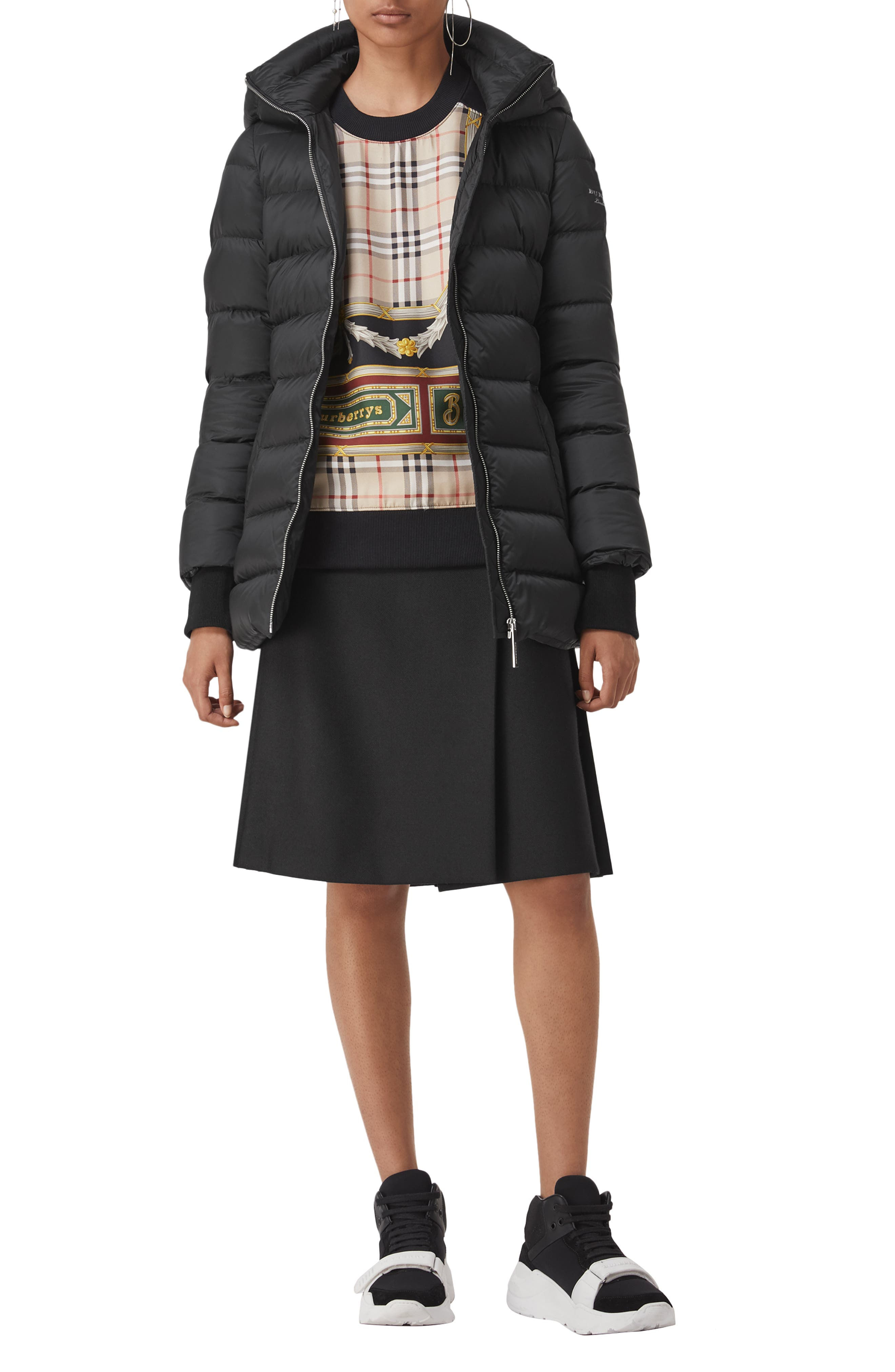 Limehouse Quilted Down Puffer Coat,                             Alternate thumbnail 4, color,                             BLACK