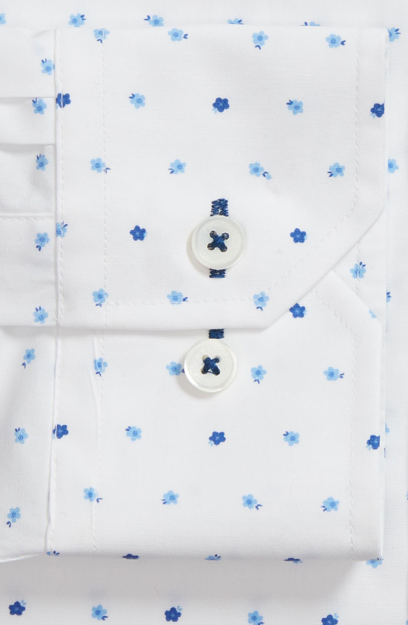 Trim Fit Print Dress Shirt,                             Alternate thumbnail 6, color,                             CLASSIC BLUE/ WHITE