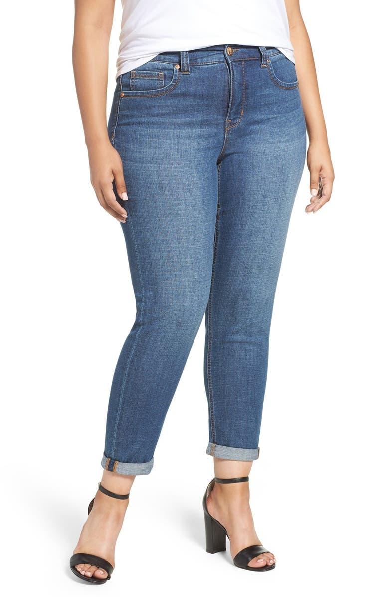 d11ec616b3ff6 Melissa McCarthy Seven7 Roll Cuff Straight Leg Jeans (Cicidad) (Plus ...