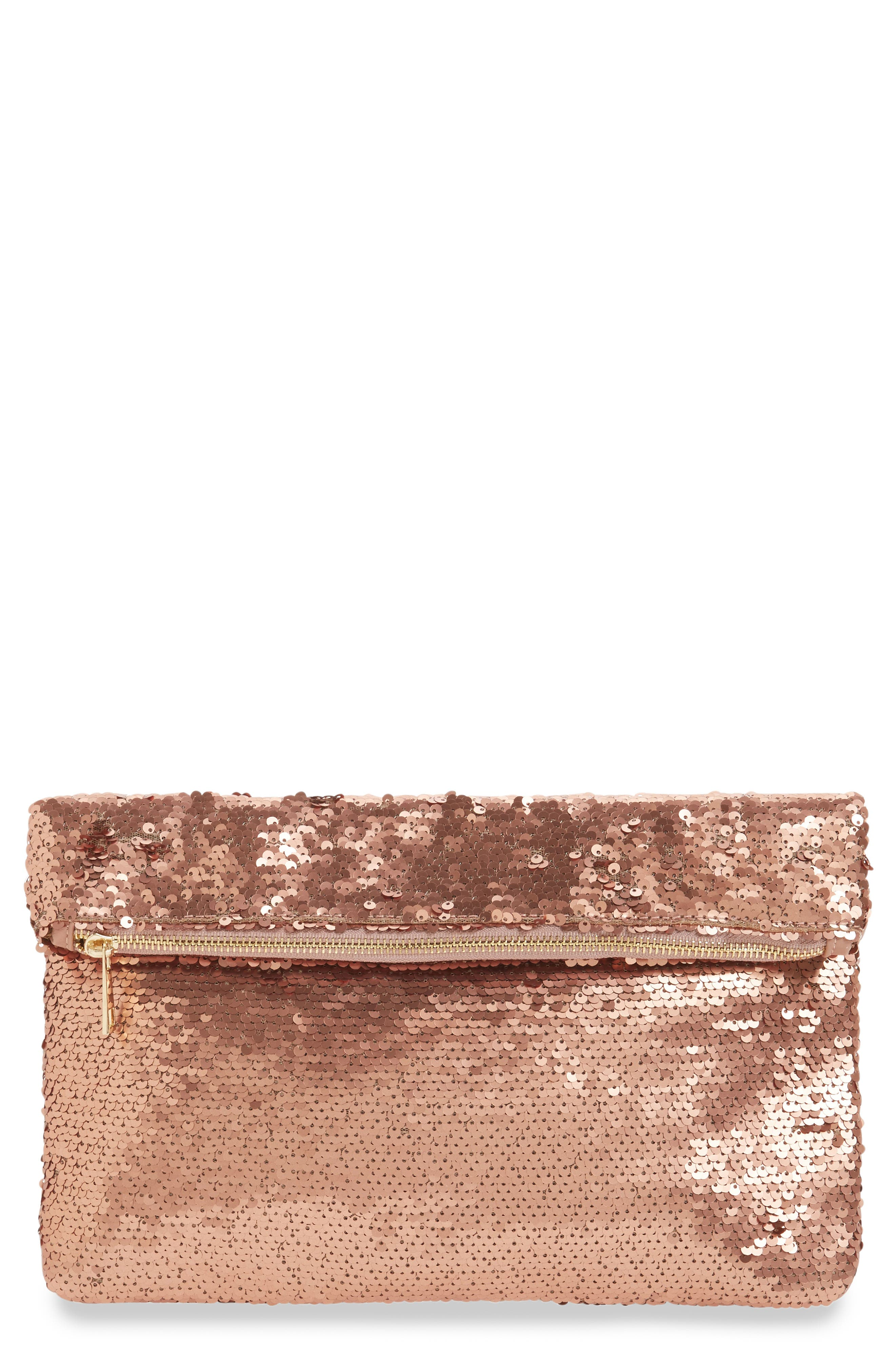 Sequin Foldover Clutch,                             Main thumbnail 1, color,                             200