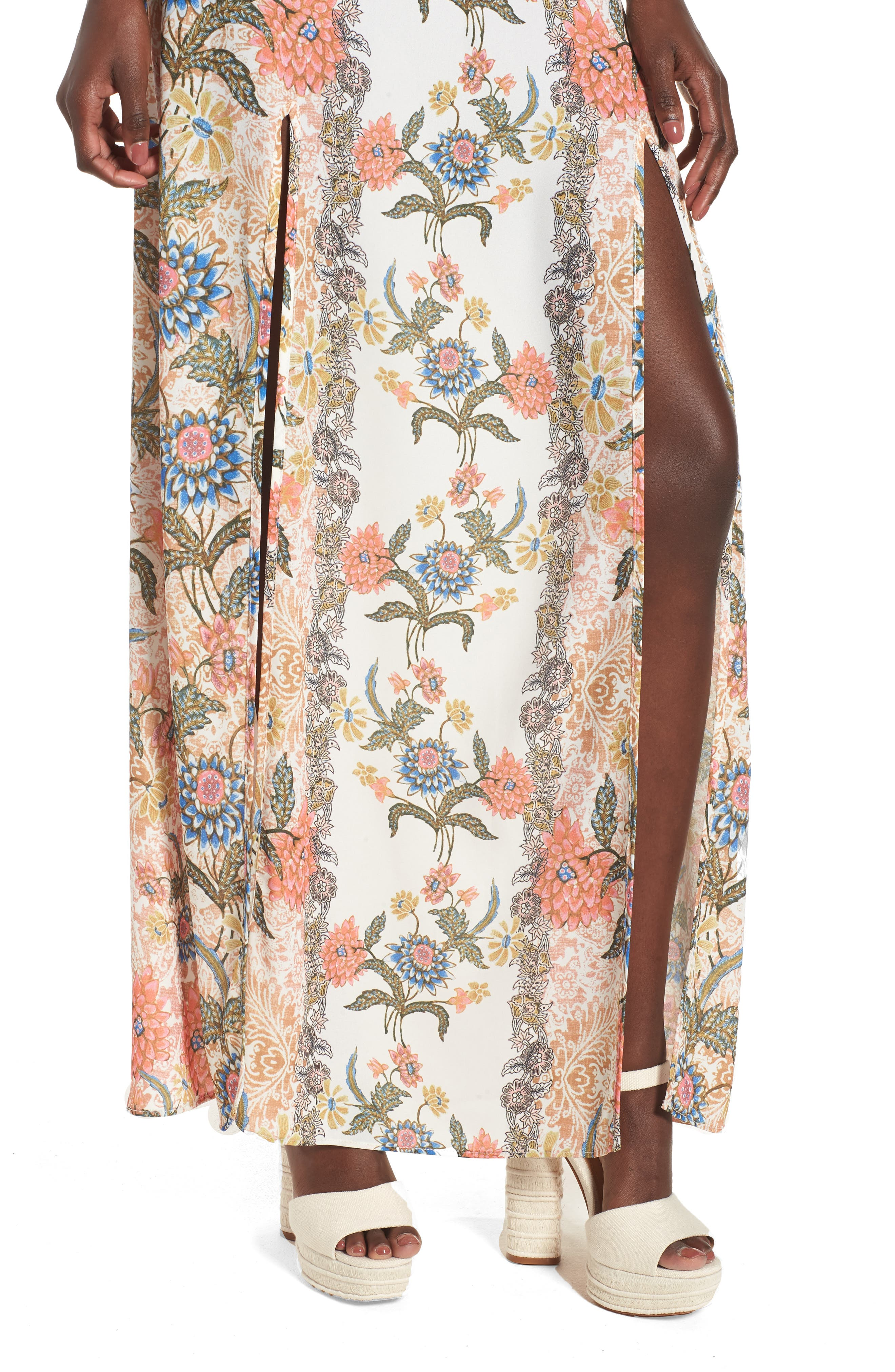Floral Maxi Skirt,                             Alternate thumbnail 4, color,                             650