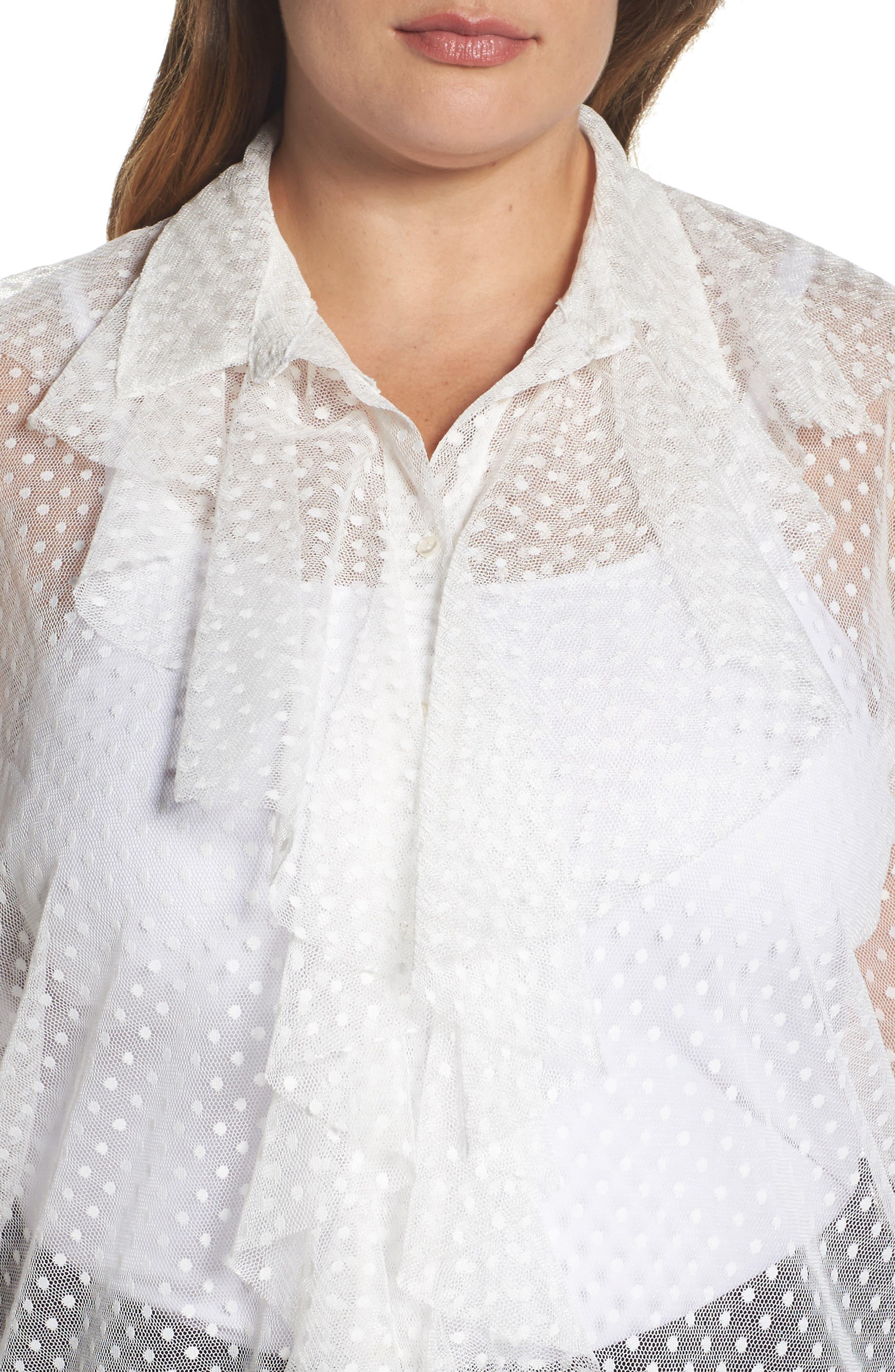 Polka Dot Mesh Ruffle Tunic Shirt,                             Alternate thumbnail 5, color,