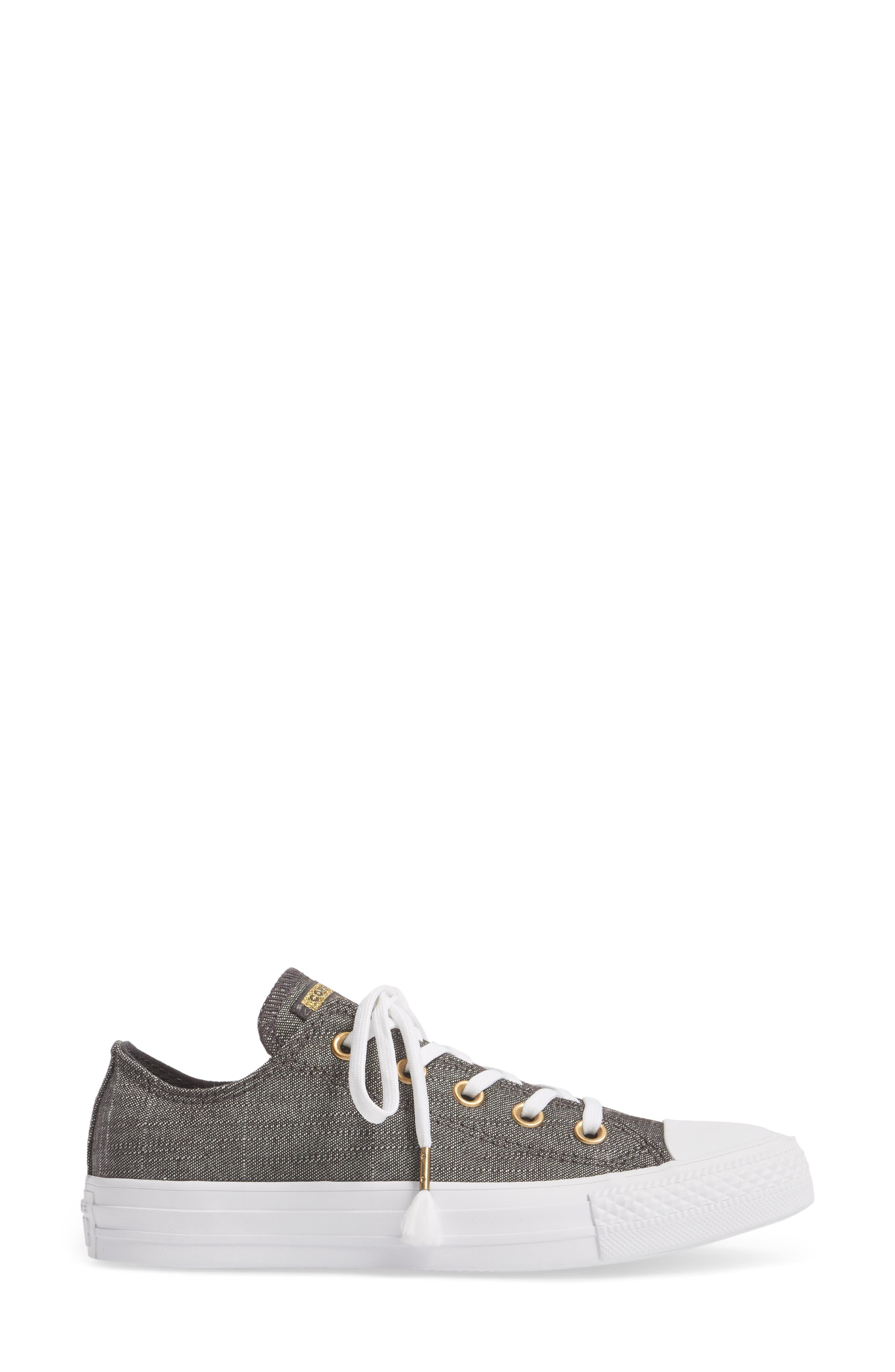 Chuck Taylor<sup>®</sup> All Star<sup>®</sup> Washed Linen Low Top Sneaker,                             Alternate thumbnail 3, color,                             006