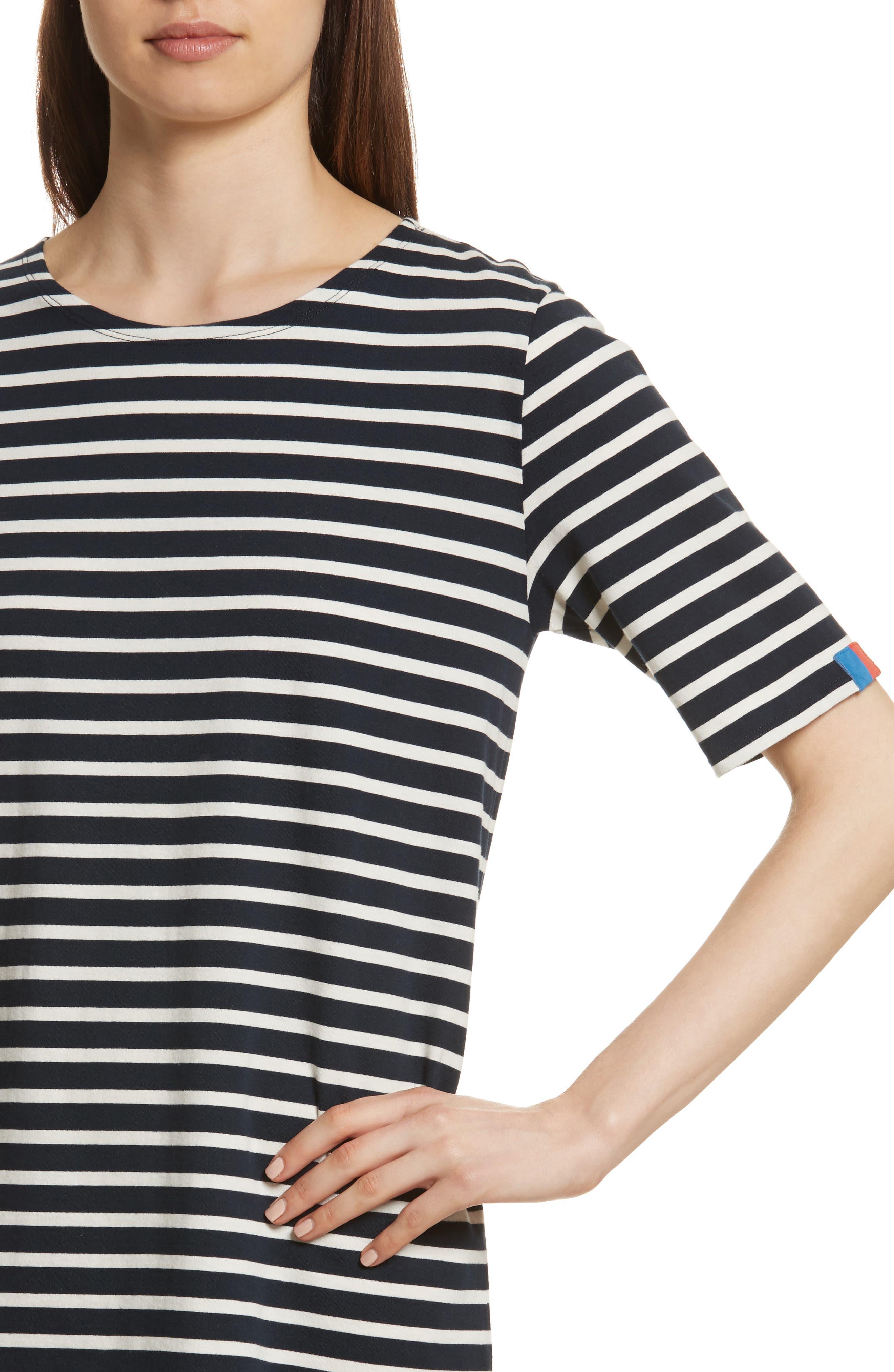 The Tee Stripe Dress,                             Alternate thumbnail 4, color,                             NAVY/ CREAM