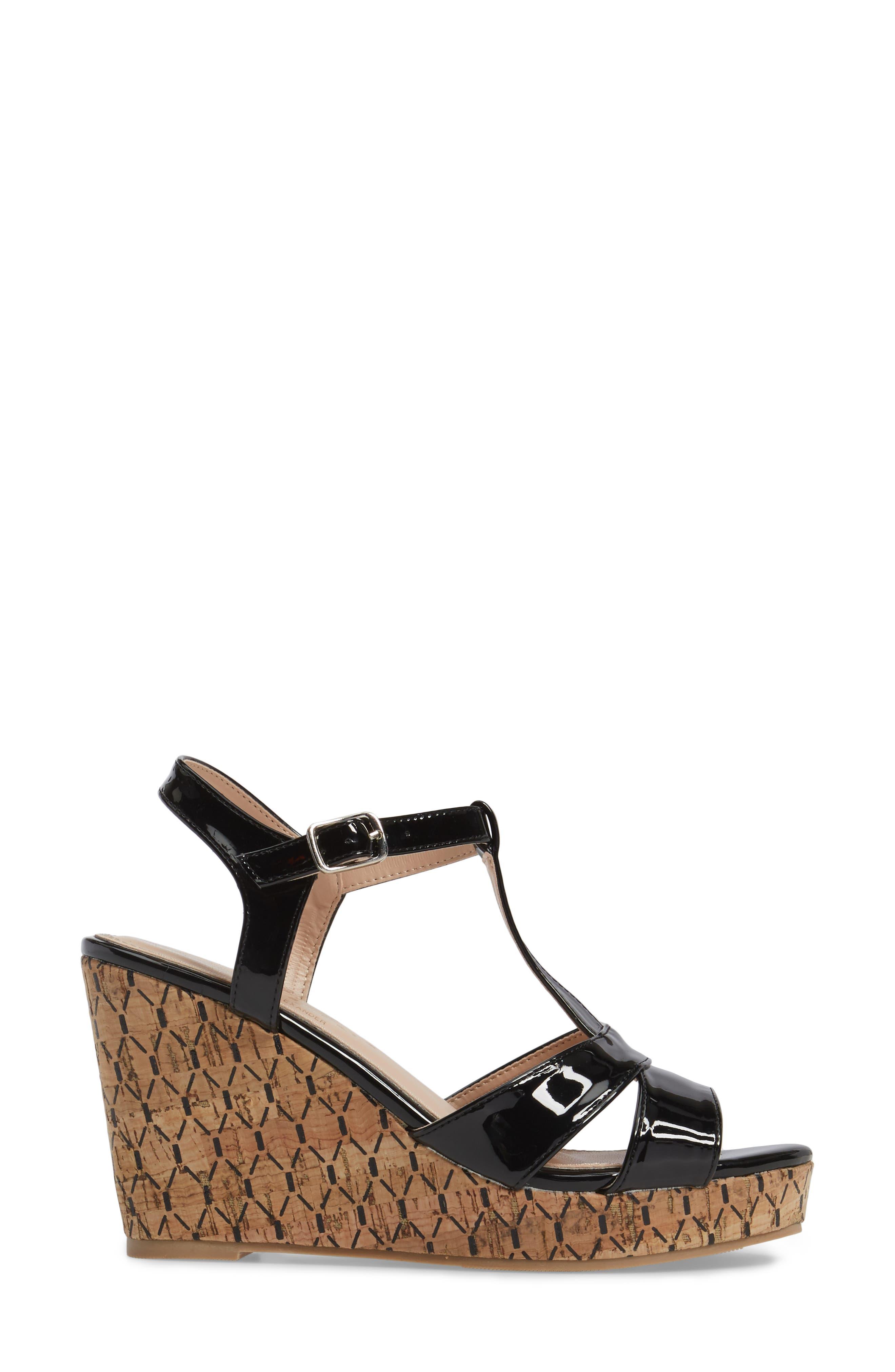 Teluride Platform Wedge Sandal,                             Alternate thumbnail 3, color,                             BLACK SYNTHETIC PATENT