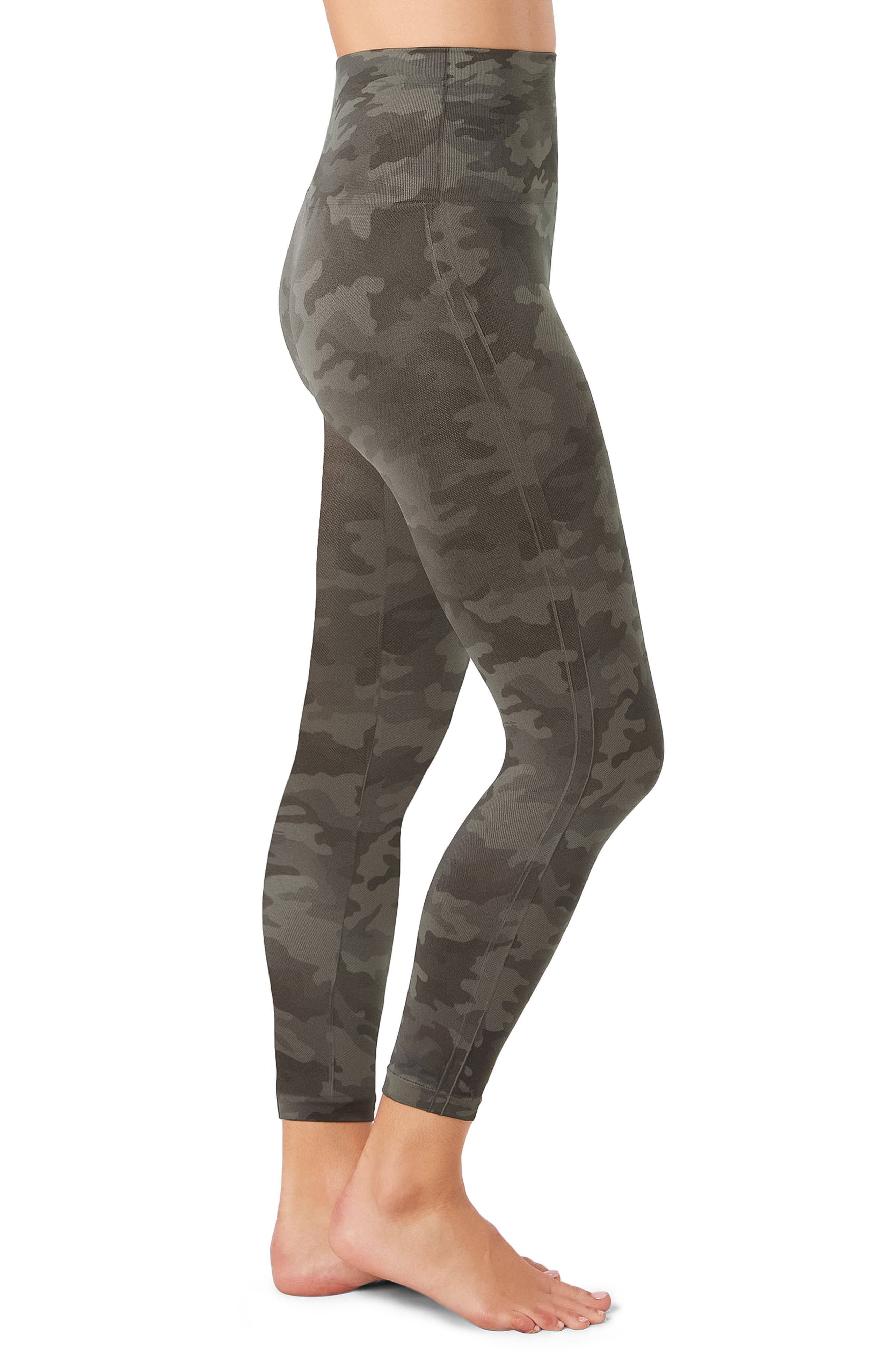 SPANX Look At Me Now Crop Seamless Leggings,                             Alternate thumbnail 3, color,                             SAGE CAMO