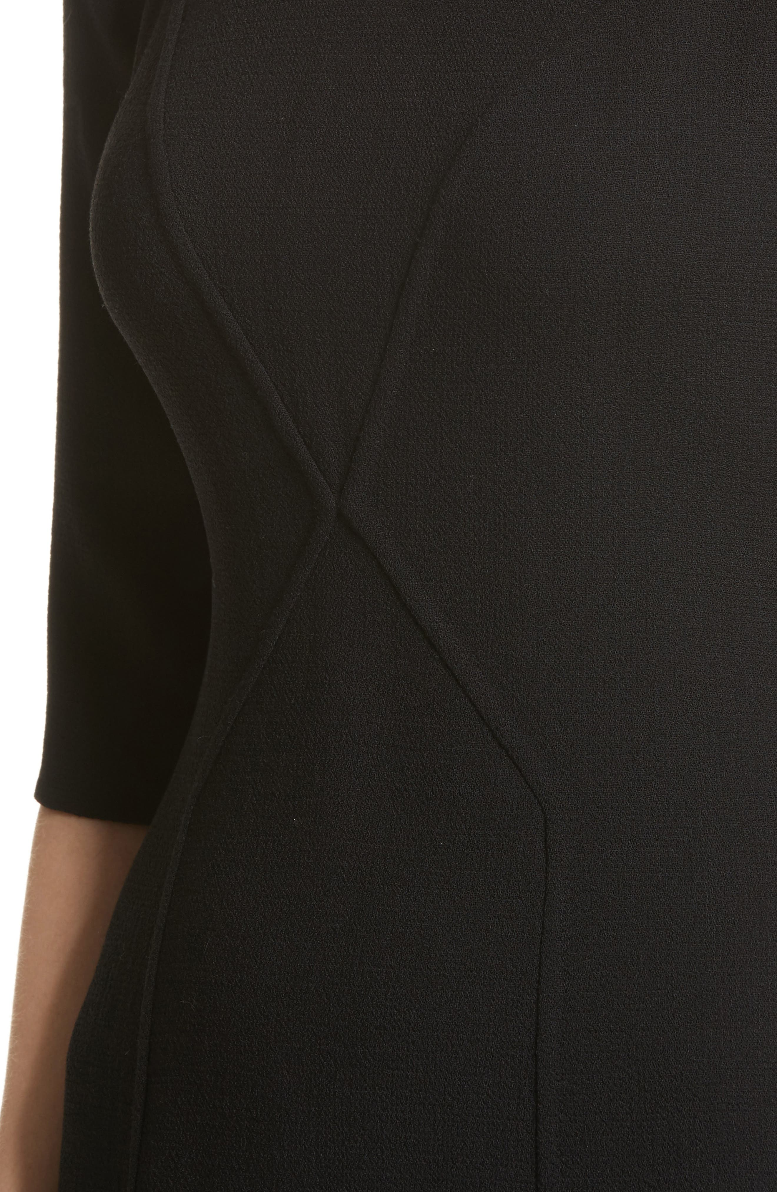 Carmen Marc Valvo Double Face Wool Crepe Sheath Dress,                             Alternate thumbnail 7, color,