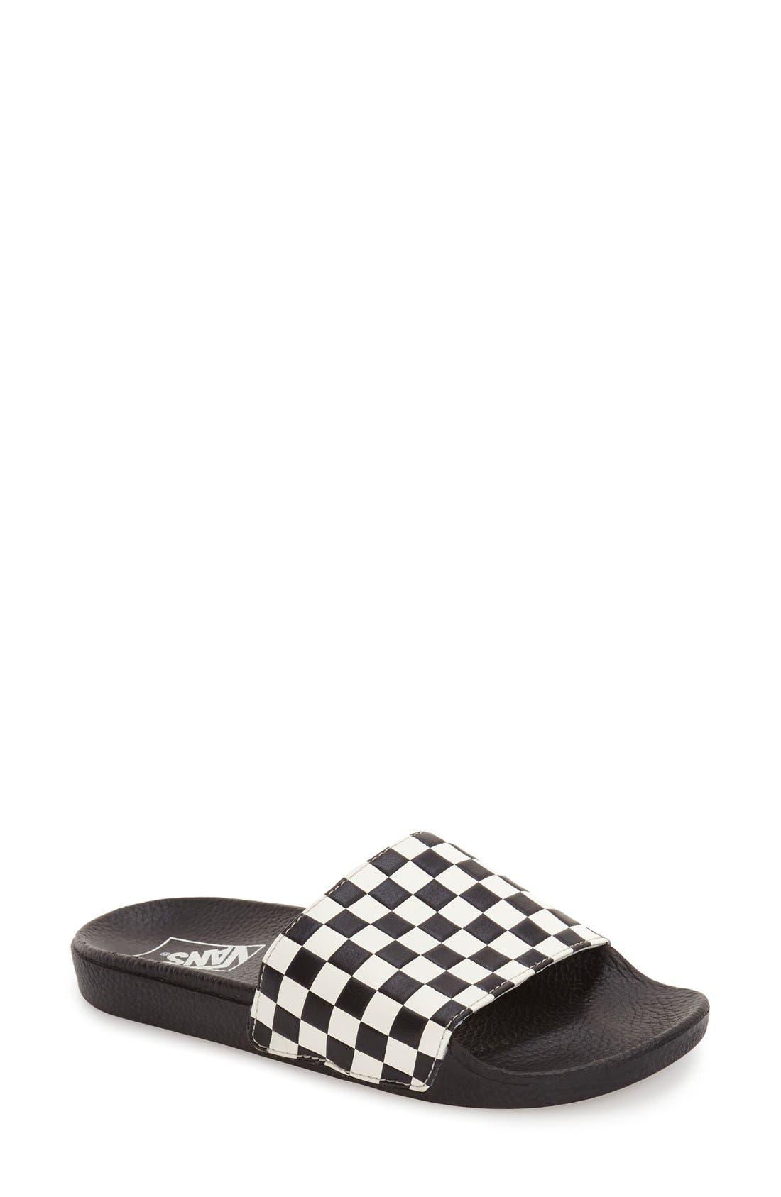 'Slide-On' Slide Sandal,                             Alternate thumbnail 2, color,                             WHITE CHECKERBOARD