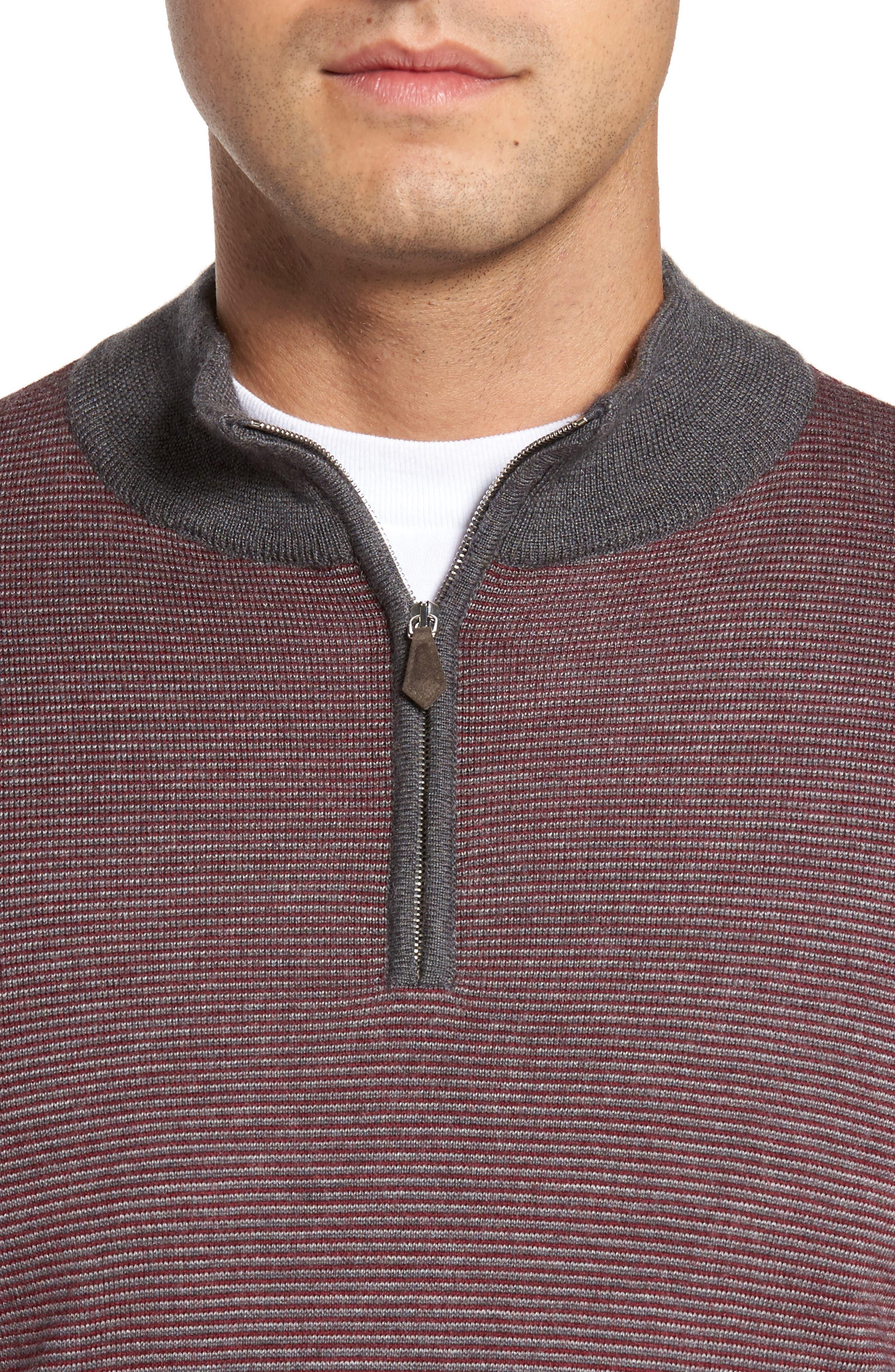 Trichrome Stripe Merino Wool Blend Sweater,                             Alternate thumbnail 4, color,                             930