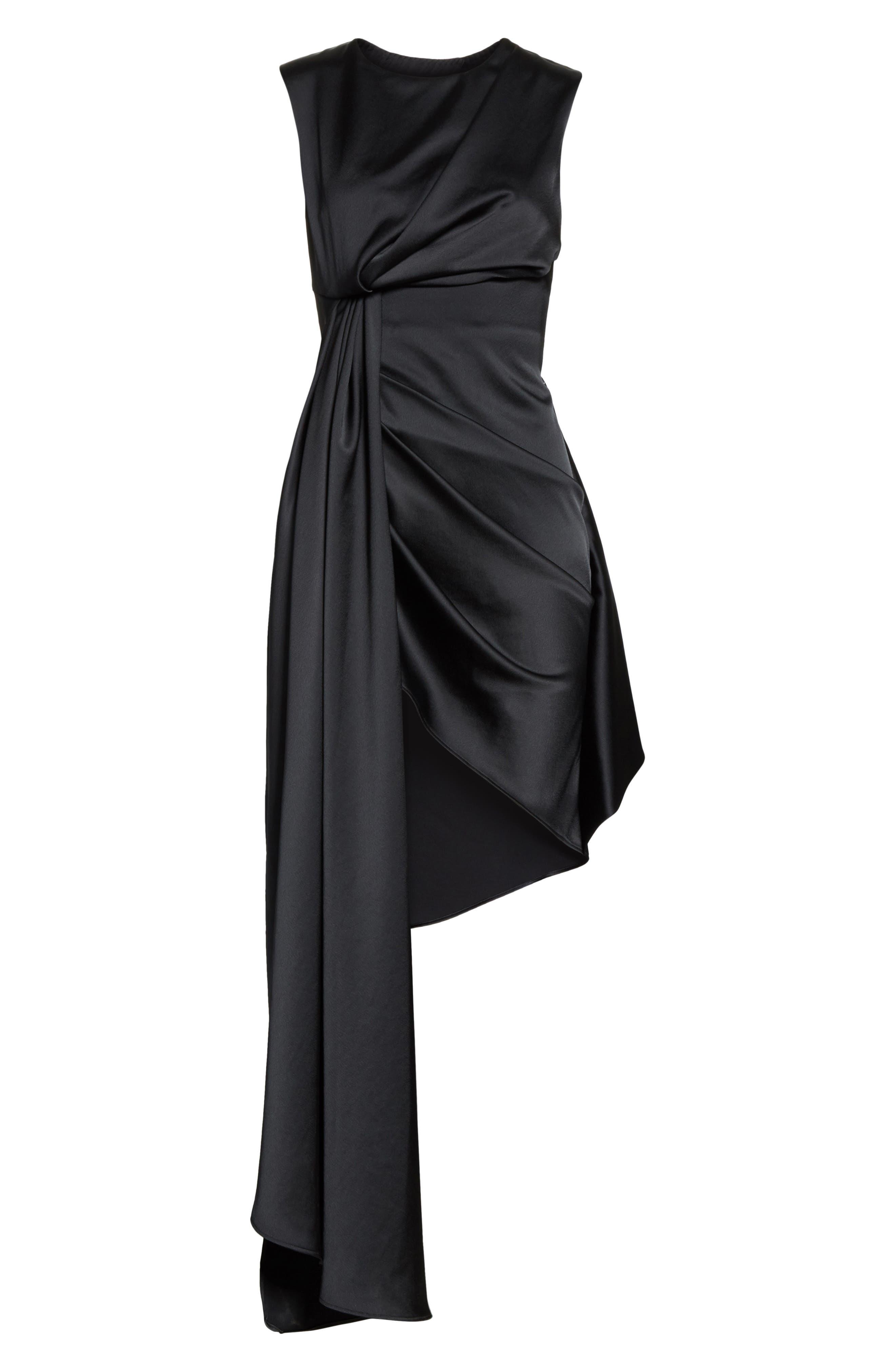 Asymmetric Satin Dress,                             Alternate thumbnail 6, color,                             001
