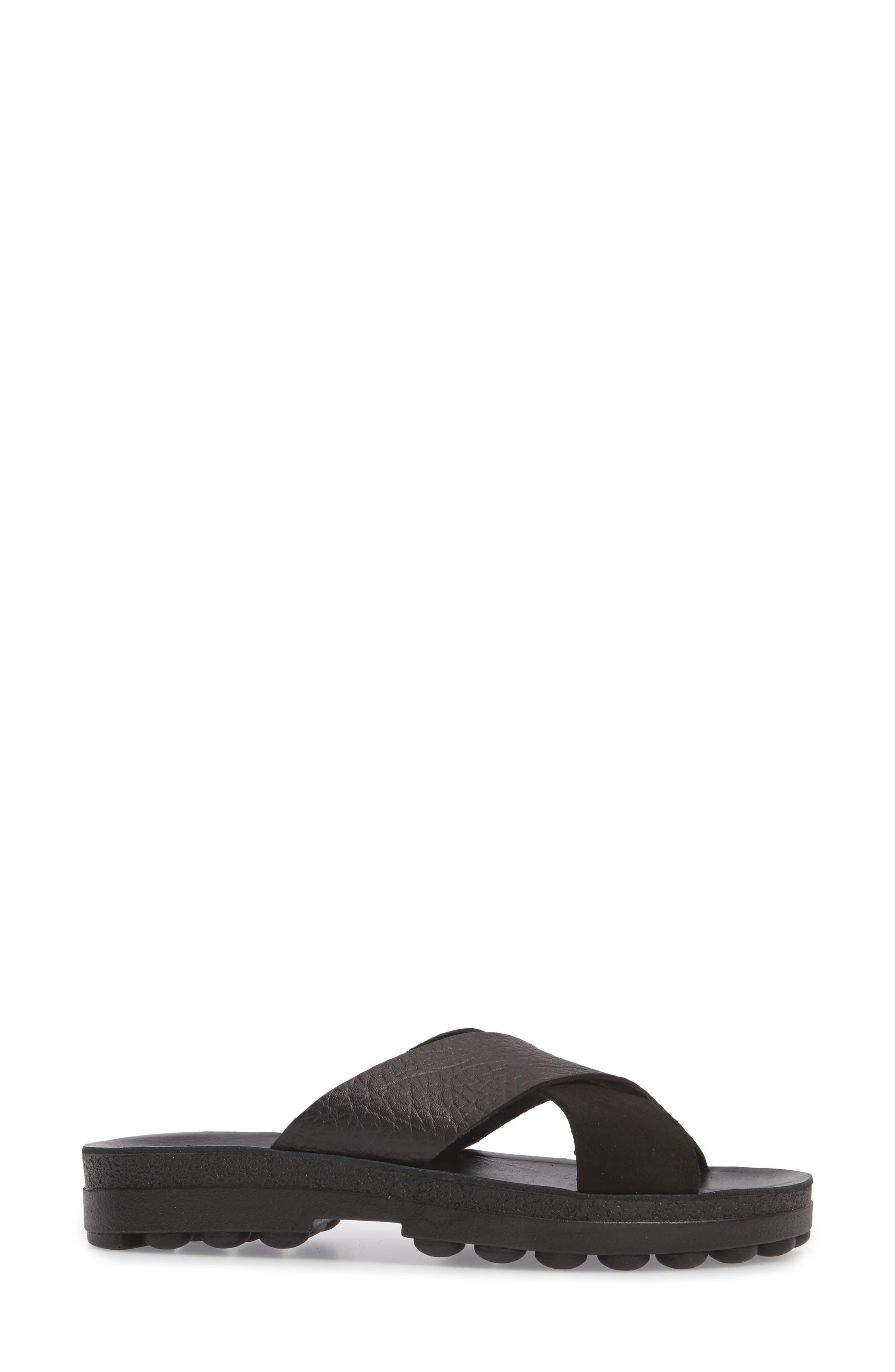 Charis Slide Sandal,                             Alternate thumbnail 3, color,                             BLACK DOLARO LEATHER
