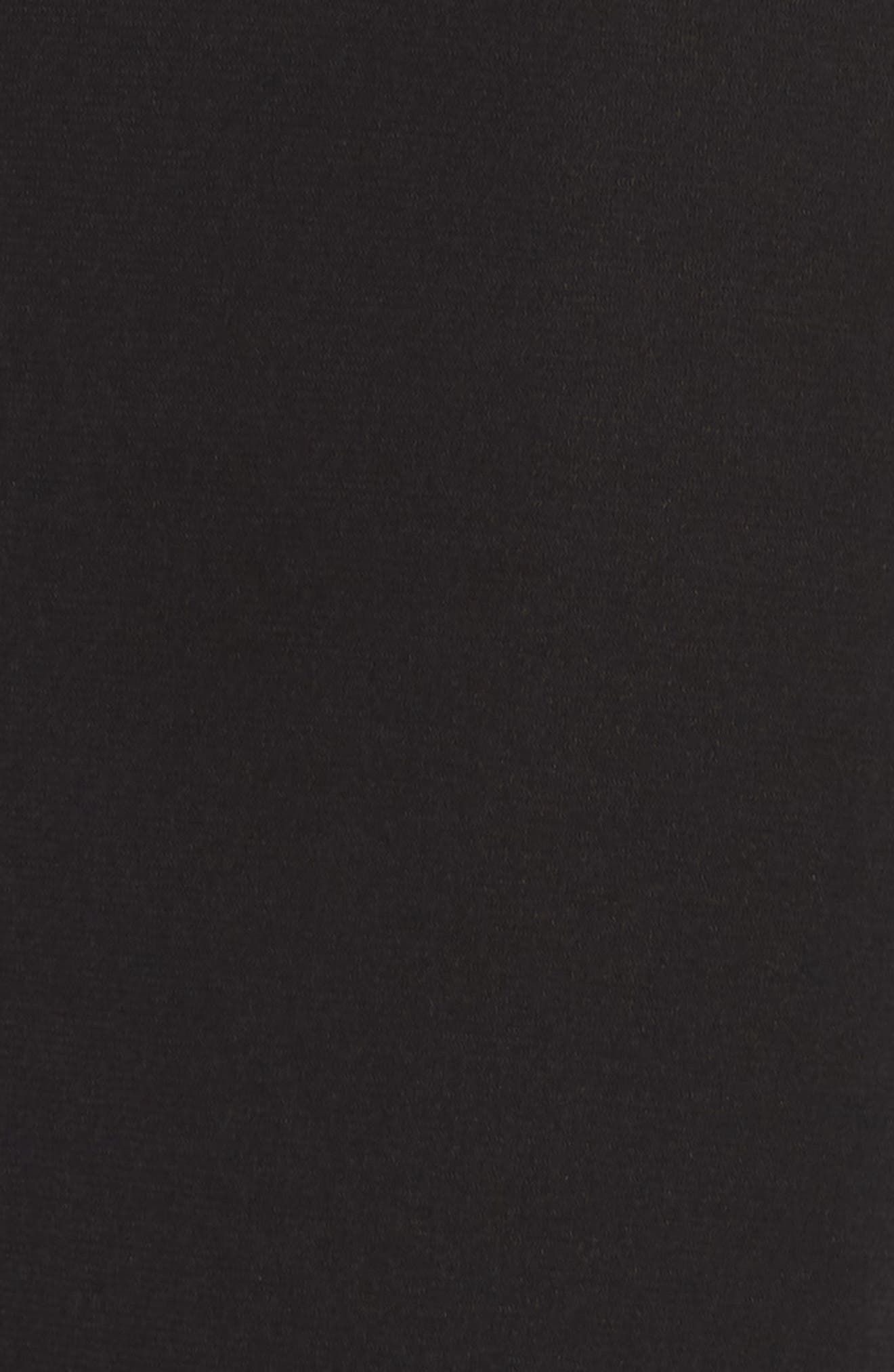 Deep V-Neck Skater Dress,                             Alternate thumbnail 6, color,                             BLACK/ / NUDE/ SILVER