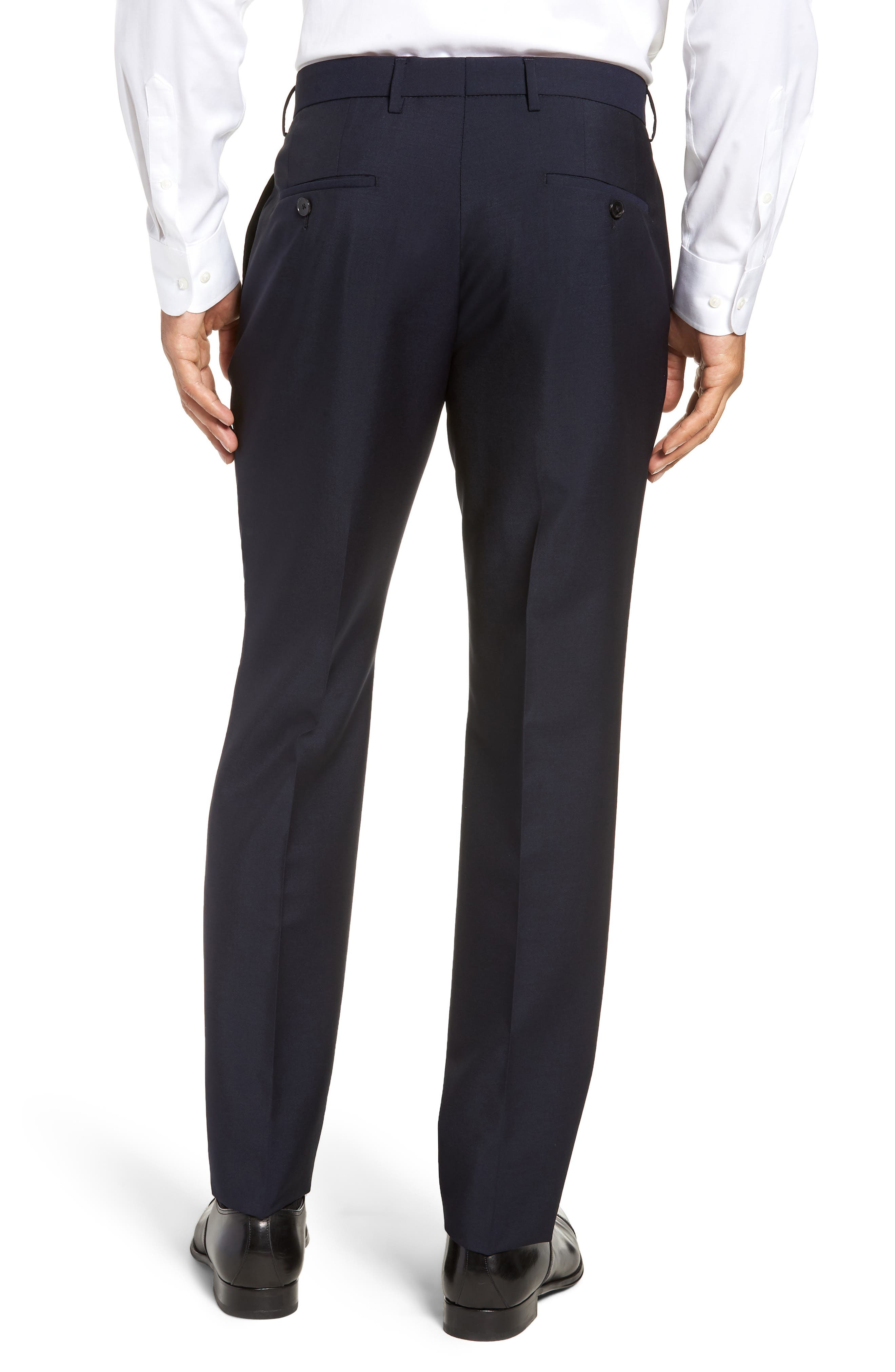 x Nordstrom Ben Flat Front Solid Wool & Mohair Trousers,                             Alternate thumbnail 2, color,                             DARK BLUE