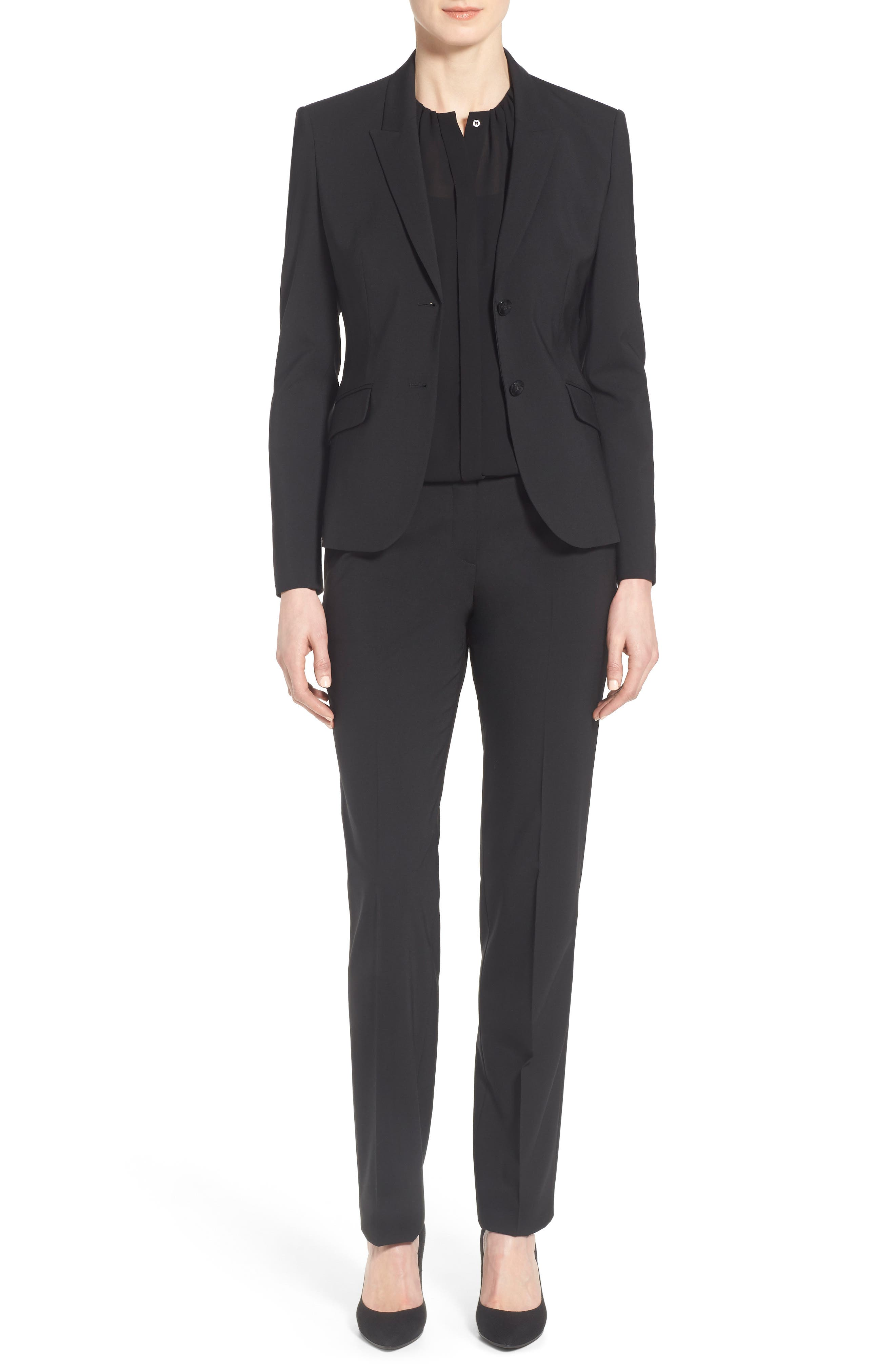 Tamea Tropical Stretch Wool Trousers, Main, color, BLACK