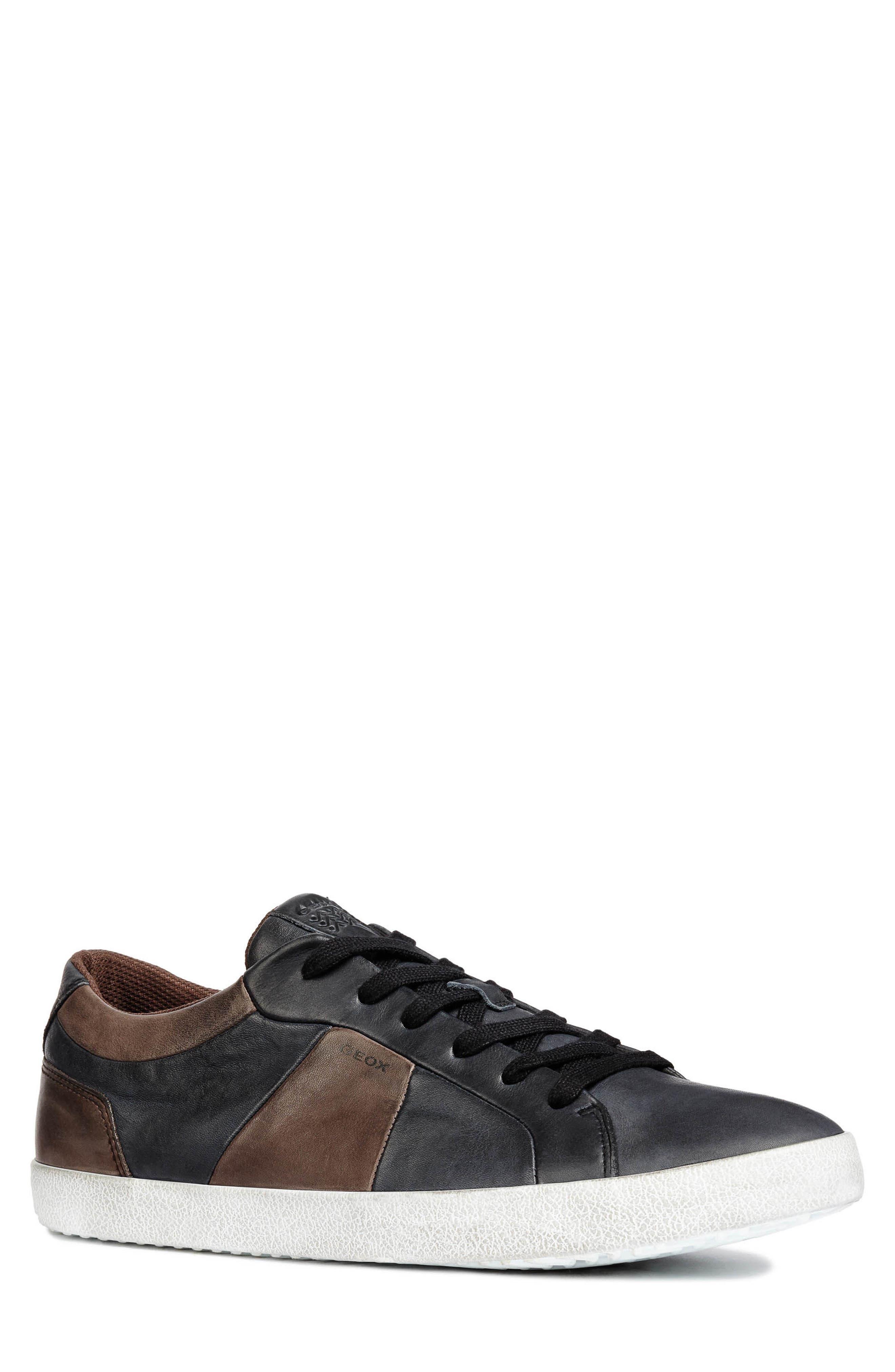 men's geox smart 85 low top sneaker, size 12.5us / 46eu - black