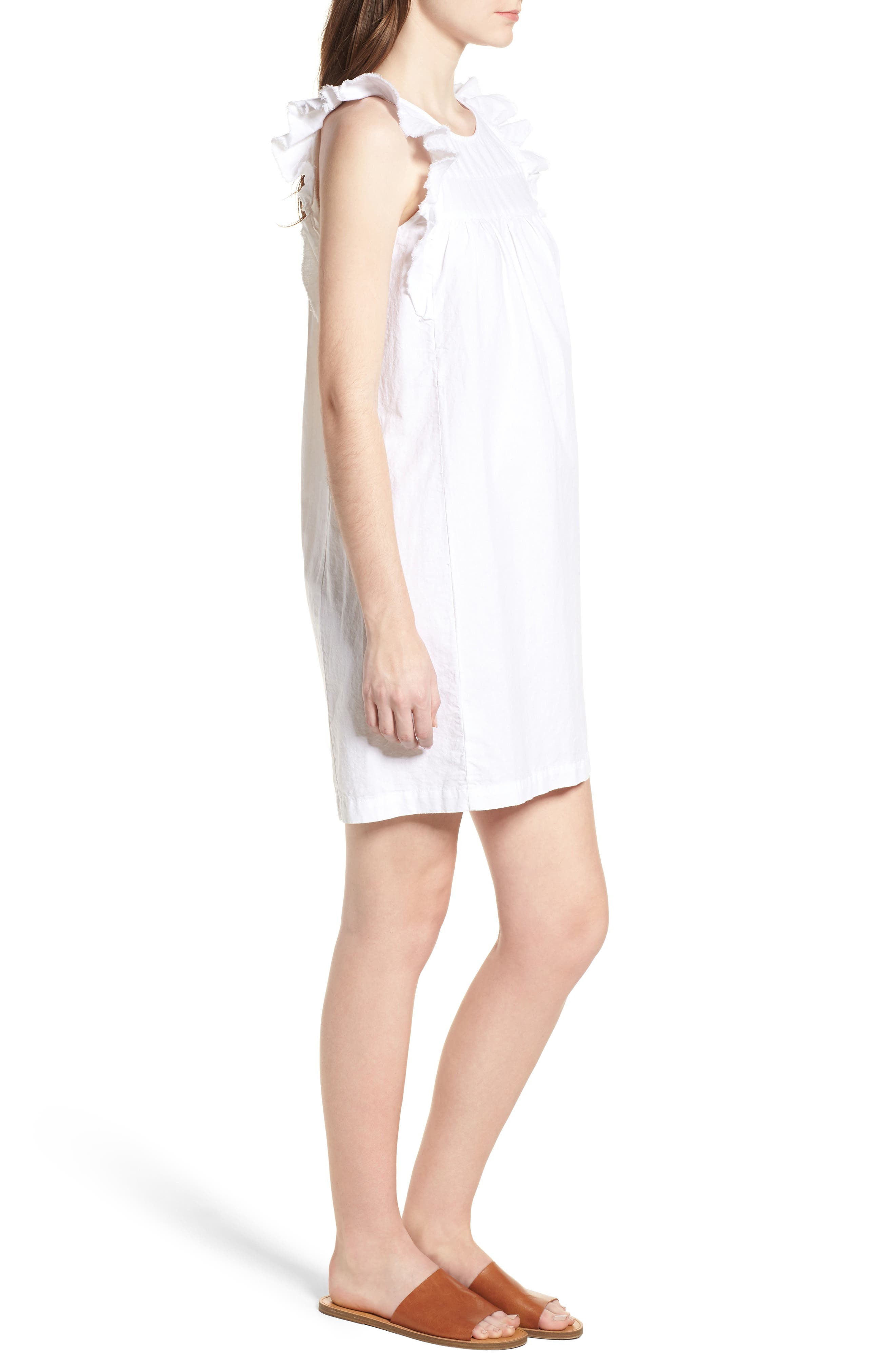 Jennifer Ruffle Babydoll Dress,                             Alternate thumbnail 3, color,                             TRUE WHITE