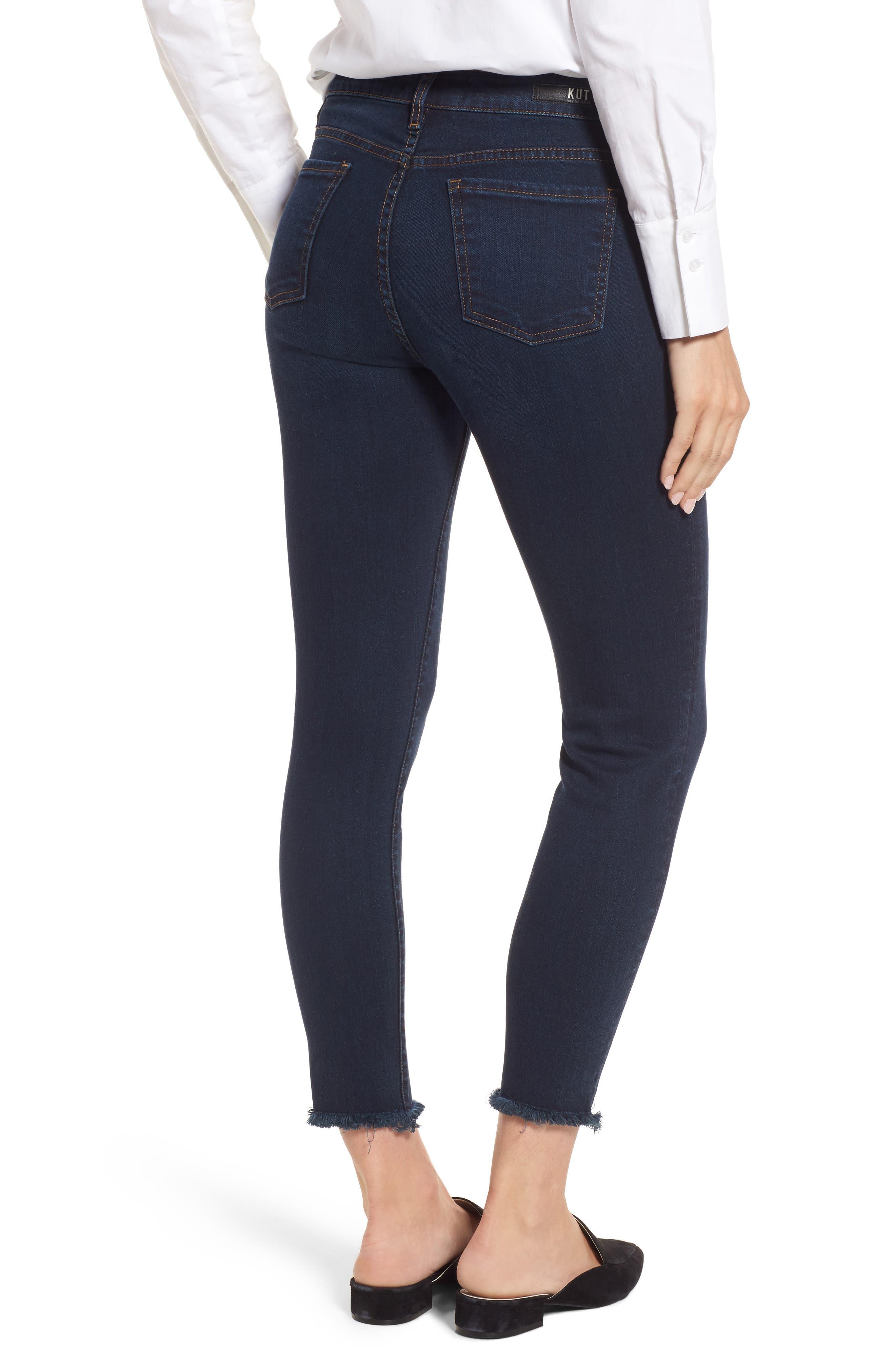 Donna Frayed Skinny Crop Jeans,                             Alternate thumbnail 2, color,                             491