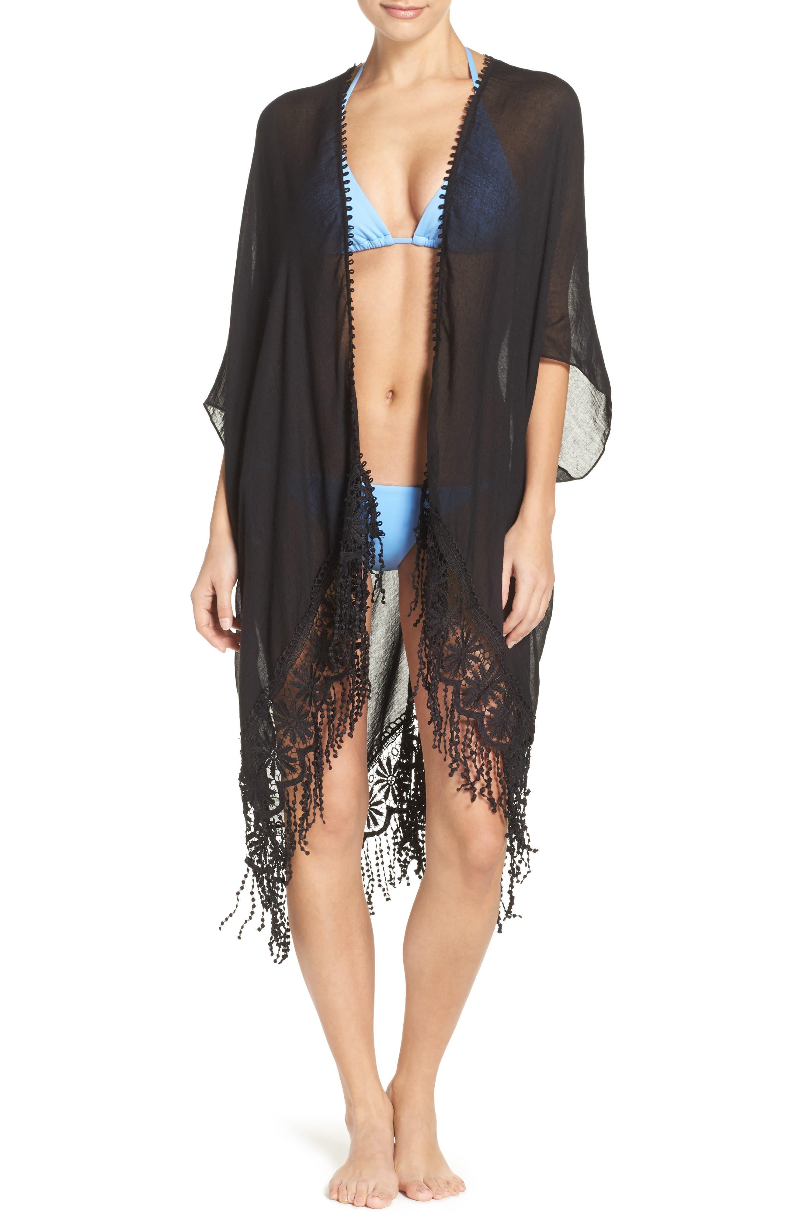 Caslon<sup>®</sup> Lace Trim Ruana,                         Main,                         color, BLACK
