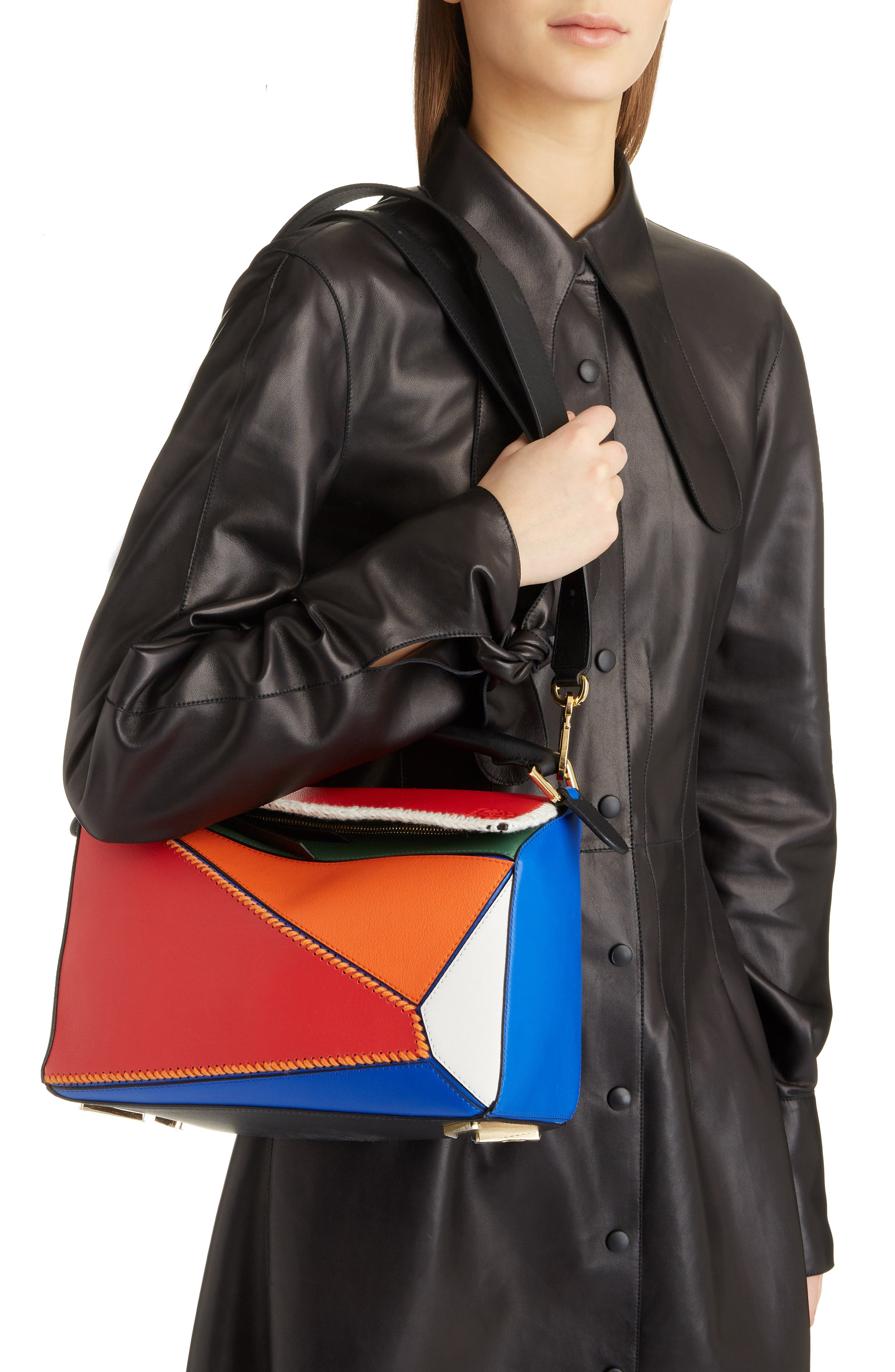 Puzzle Calfskin Leather Bag,                             Alternate thumbnail 2, color,                             RED MULTI