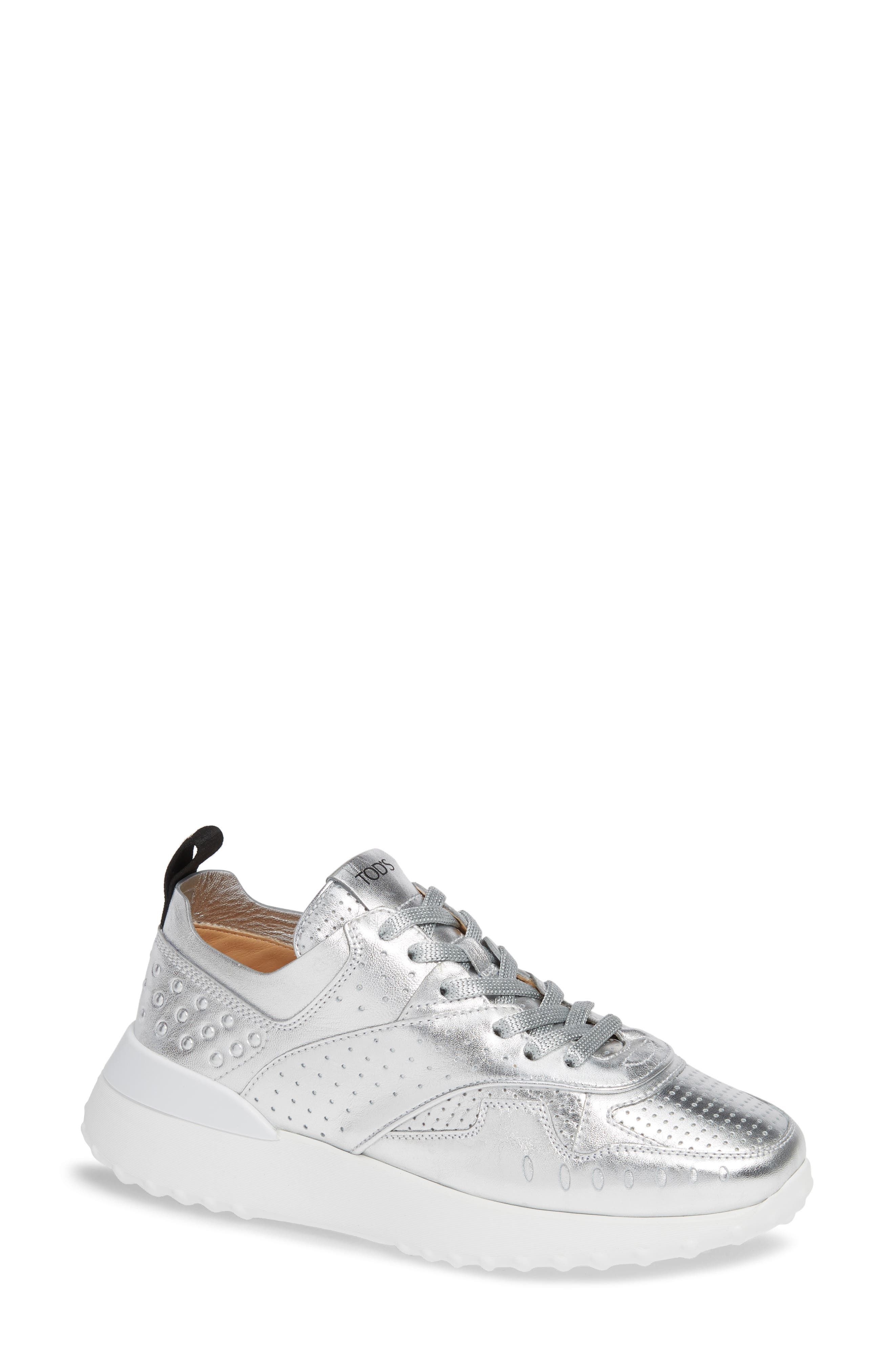 Perforated Lace-Up Sneaker,                             Main thumbnail 1, color,                             SILVER