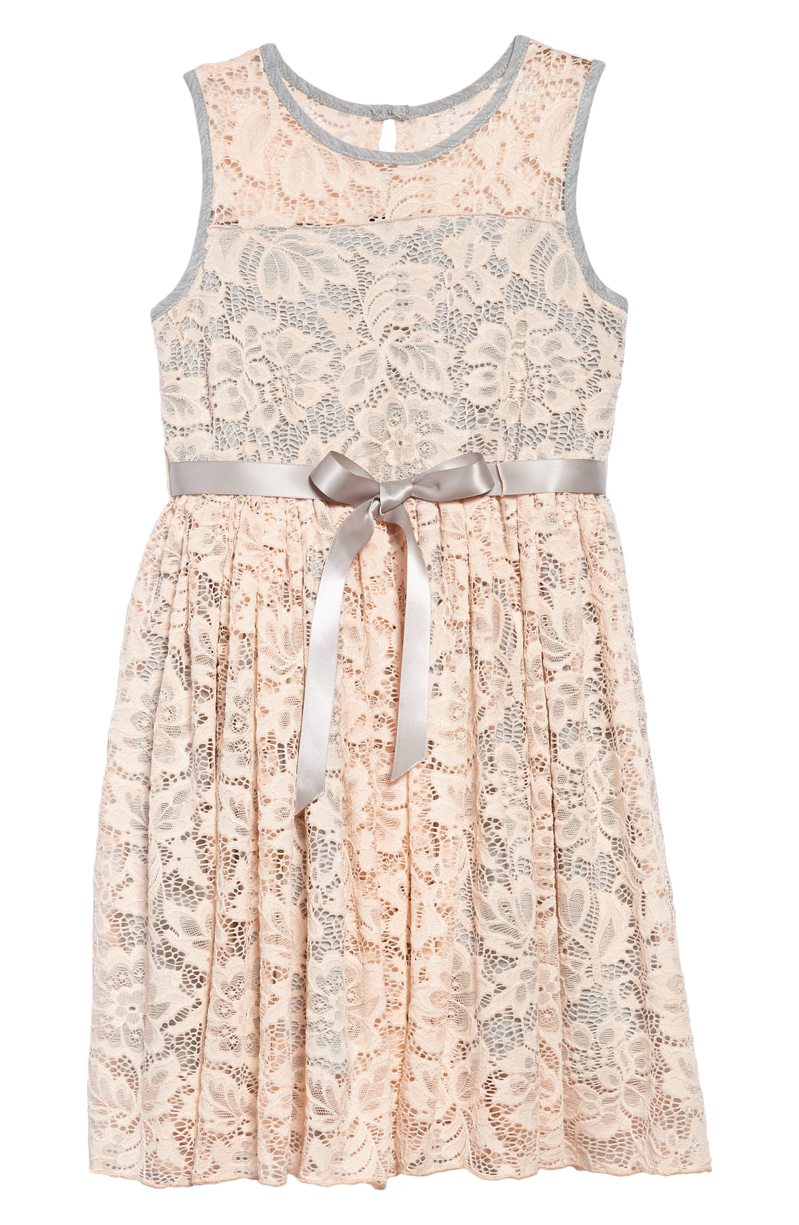 Sleeveless Floral Lace Dress,                         Main,                         color, 685