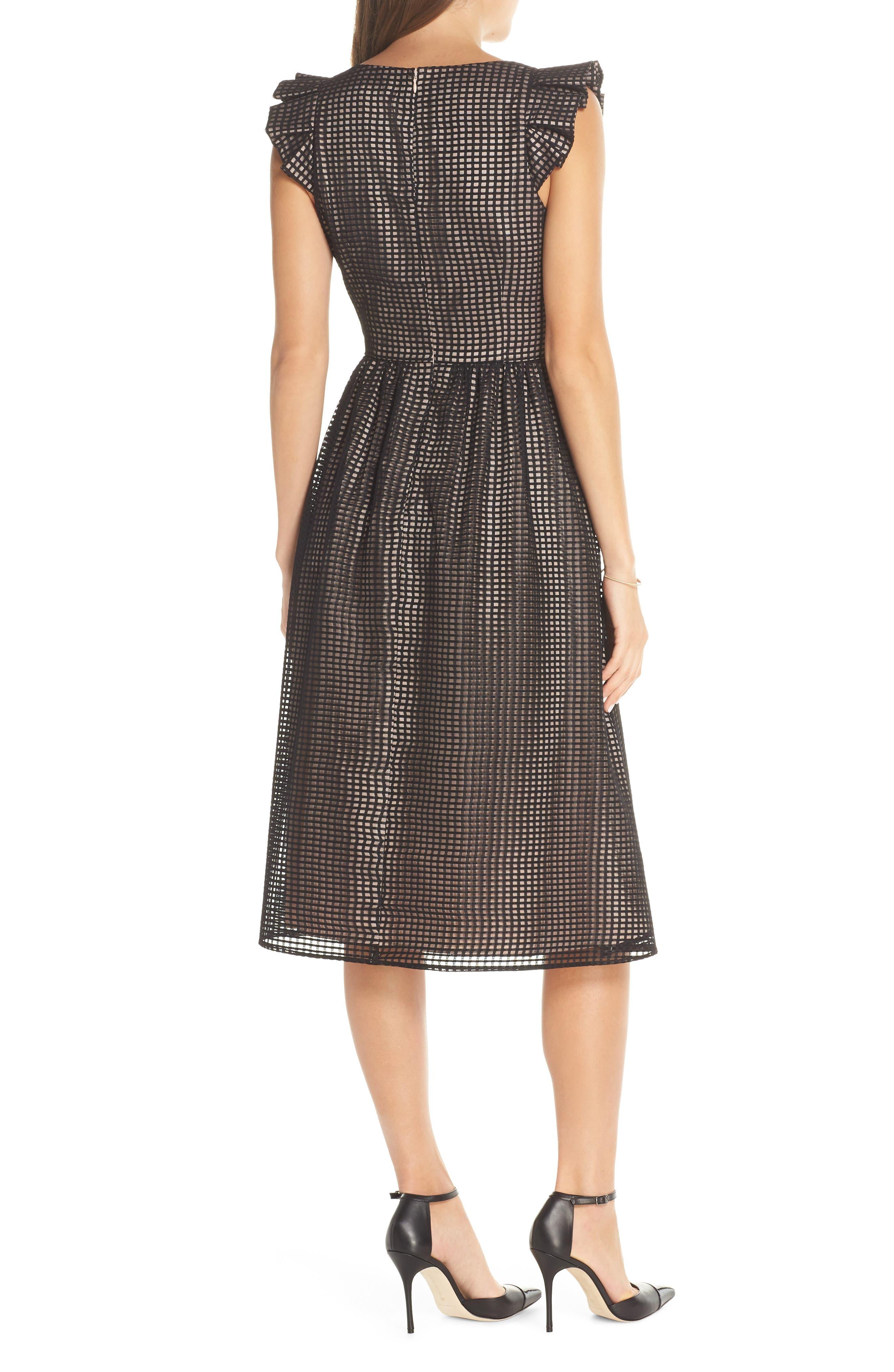 1901,                             Ruffle Grid Overlay Midi Dress,                             Alternate thumbnail 2, color,                             001